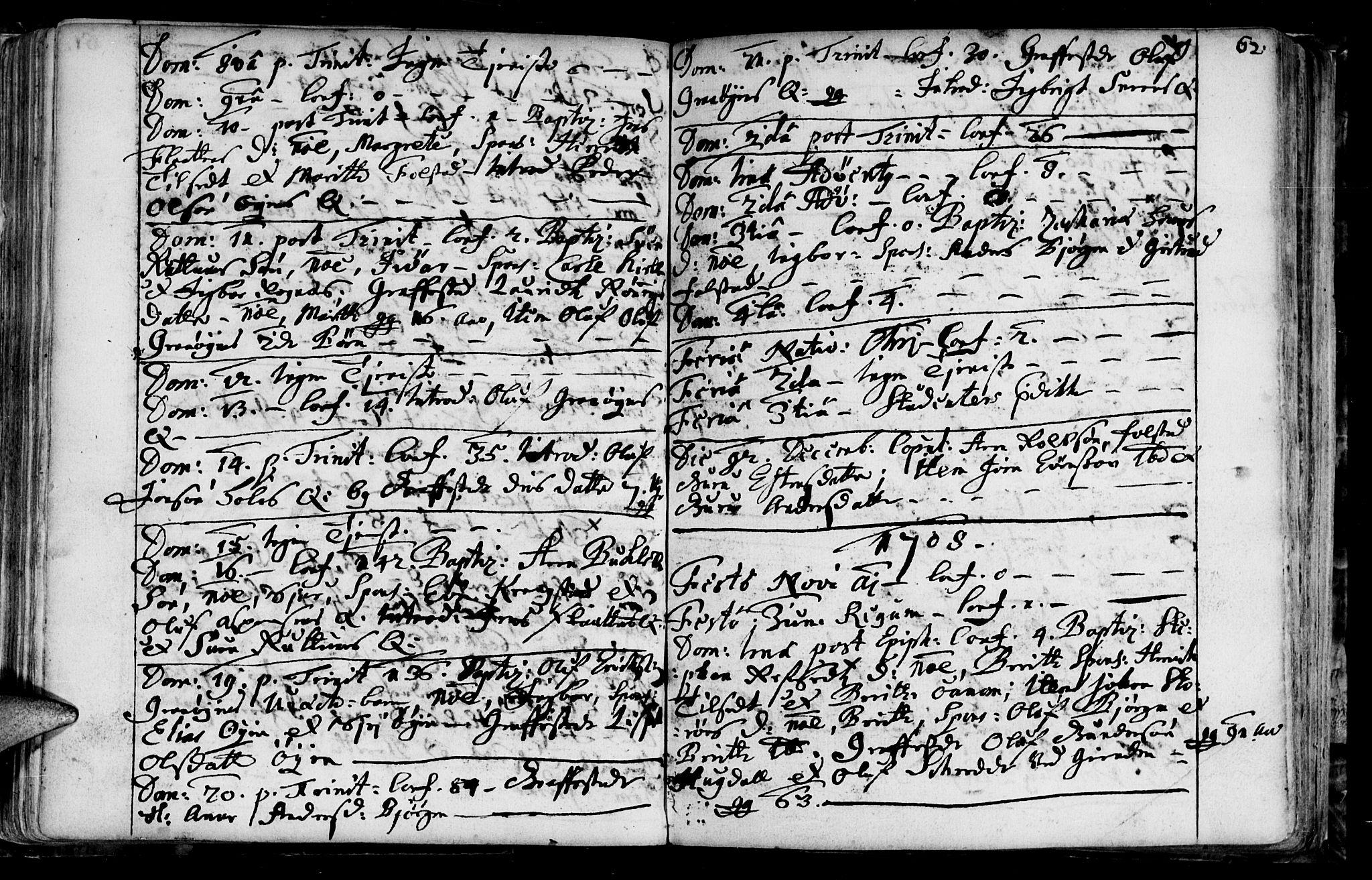 SAT, Ministerialprotokoller, klokkerbøker og fødselsregistre - Sør-Trøndelag, 687/L0990: Ministerialbok nr. 687A01, 1690-1746, s. 62