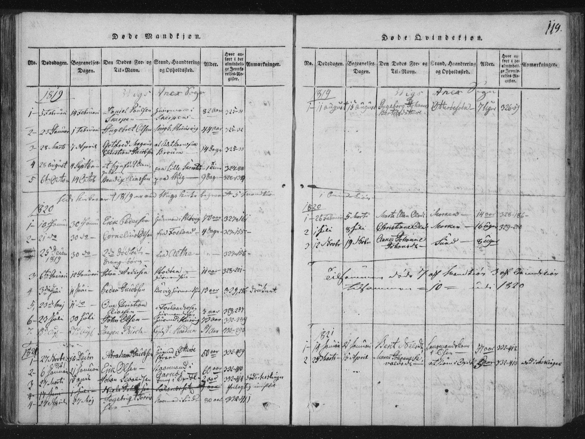 SAT, Ministerialprotokoller, klokkerbøker og fødselsregistre - Nord-Trøndelag, 773/L0609: Ministerialbok nr. 773A03 /2, 1815-1830, s. 119