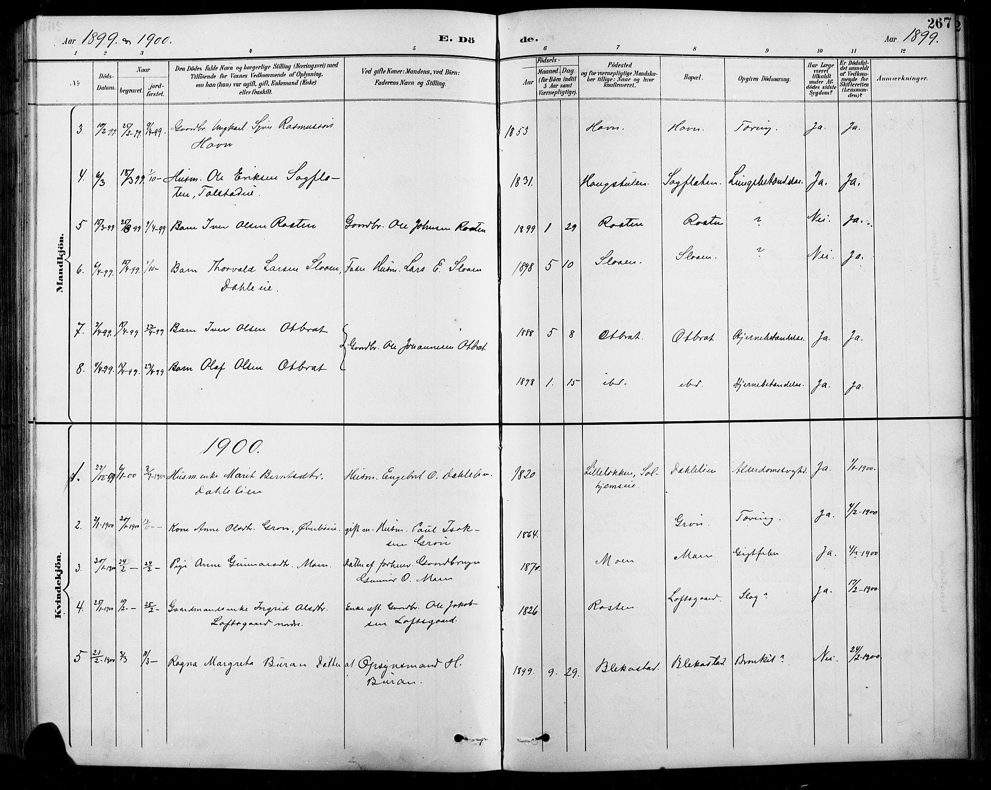 SAH, Sel prestekontor, Klokkerbok nr. 1, 1894-1923, s. 267