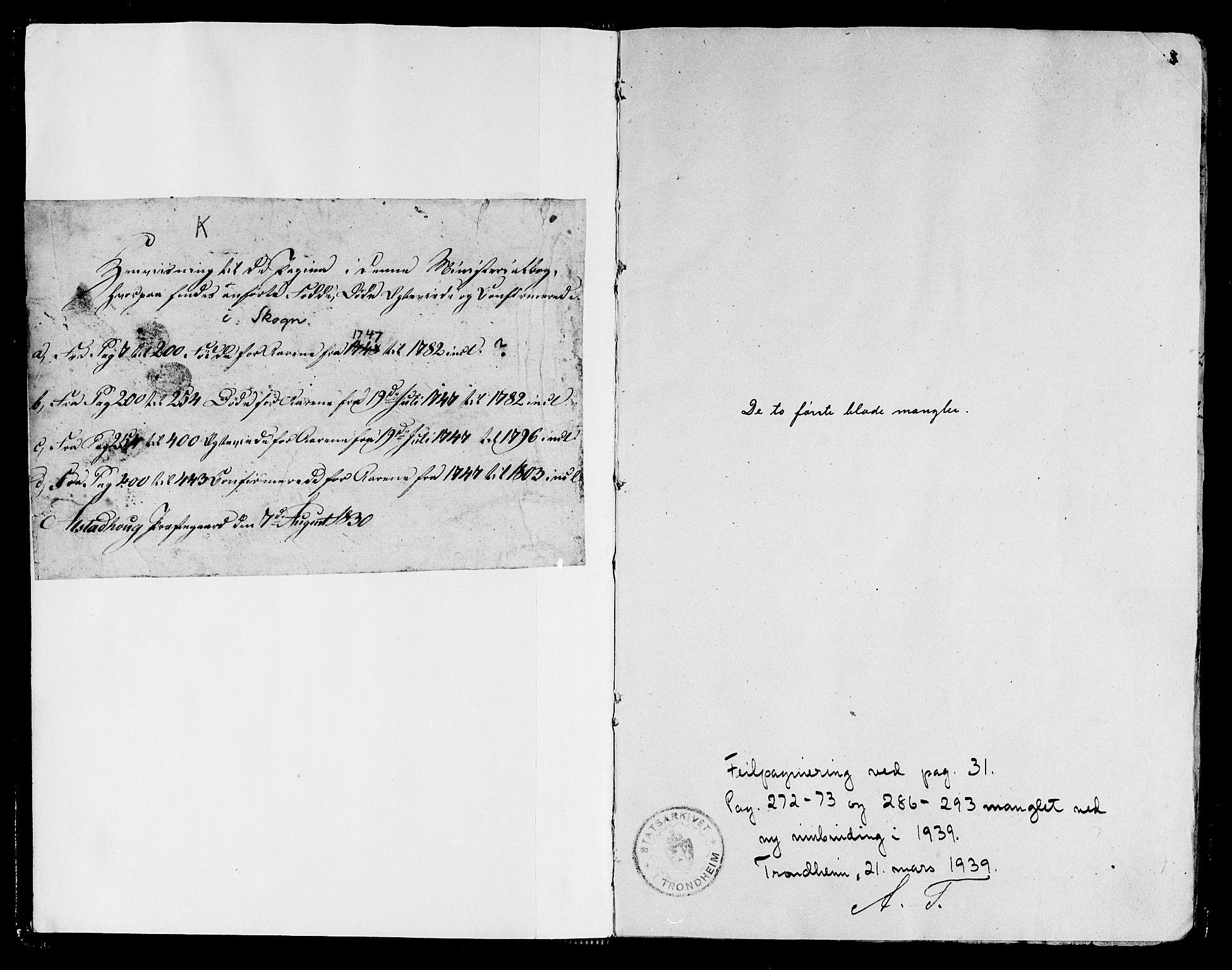 SAT, Ministerialprotokoller, klokkerbøker og fødselsregistre - Nord-Trøndelag, 717/L0141: Ministerialbok nr. 717A01, 1747-1803