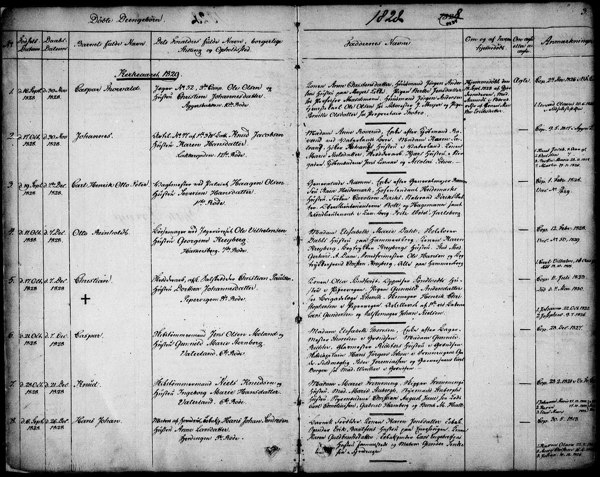 SAO, Garnisonsmenigheten Kirkebøker, F/Fa/L0006: Ministerialbok nr. 6, 1828-1841, s. 3