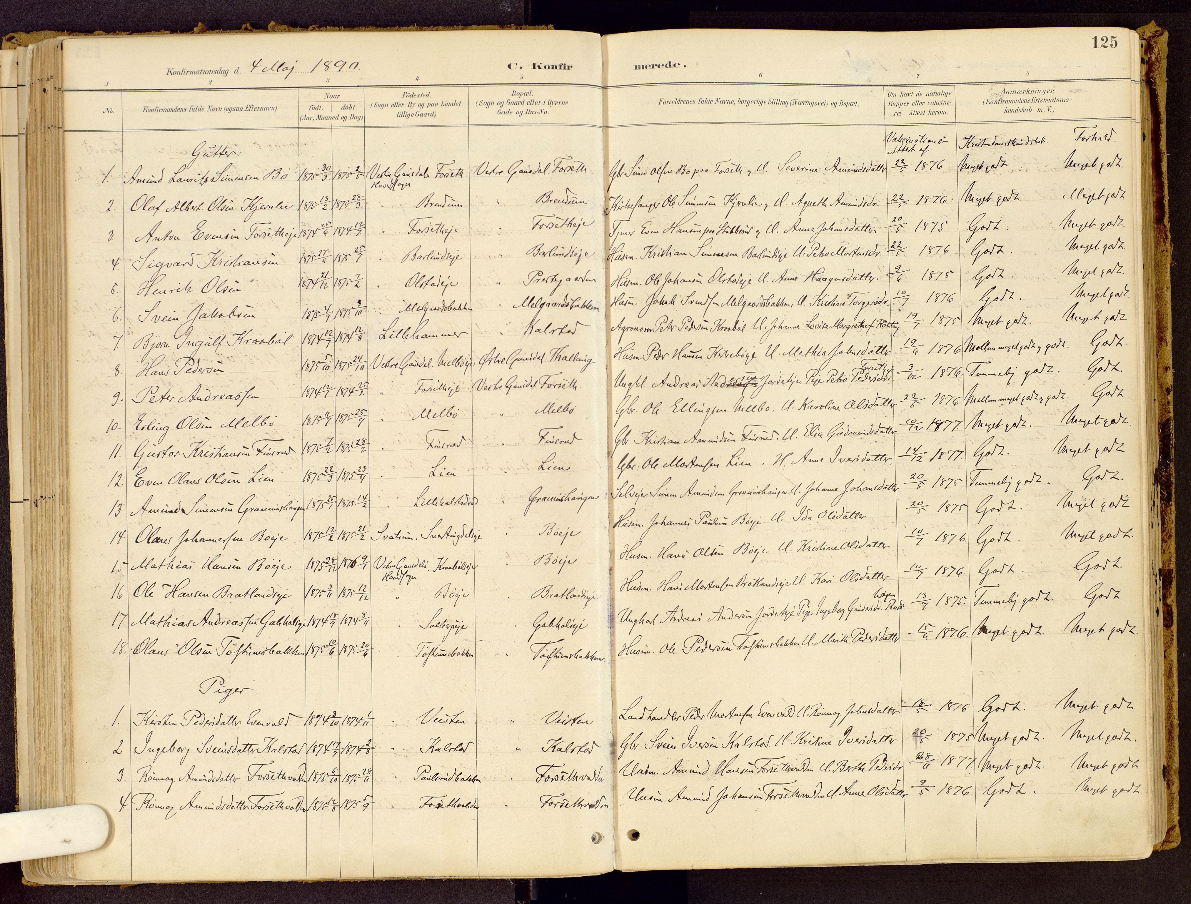 SAH, Vestre Gausdal prestekontor, Ministerialbok nr. 1, 1887-1914, s. 125