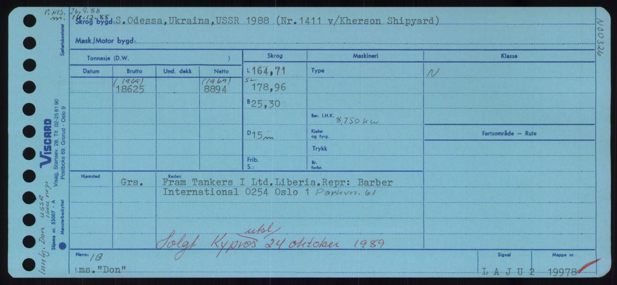 RA, Sjøfartsdirektoratet med forløpere, Skipsmålingen, H/Hd/L0008: Fartøy, C-D, s. 571