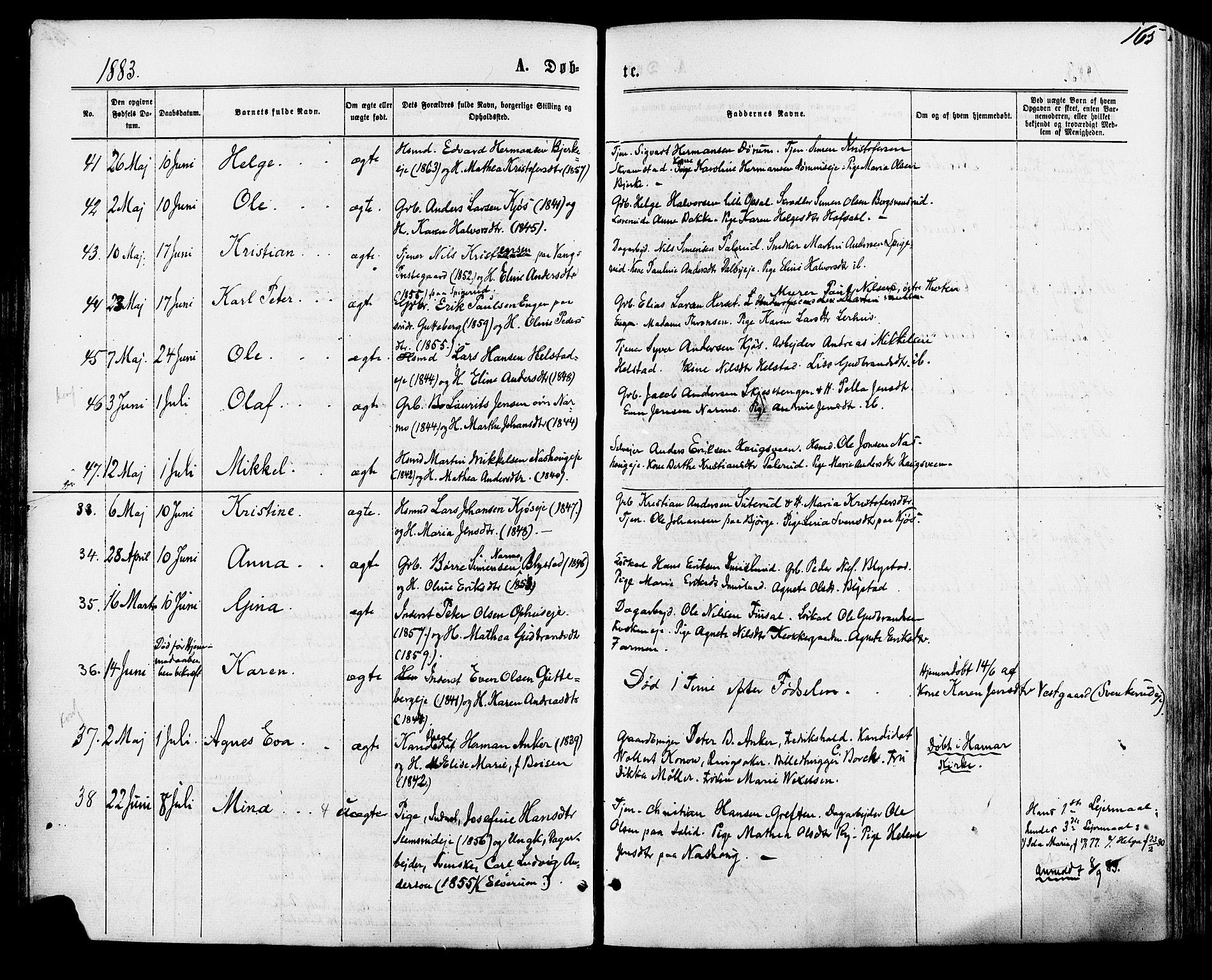 SAH, Vang prestekontor, Hedmark, H/Ha/Haa/L0015: Ministerialbok nr. 15, 1871-1885, s. 165