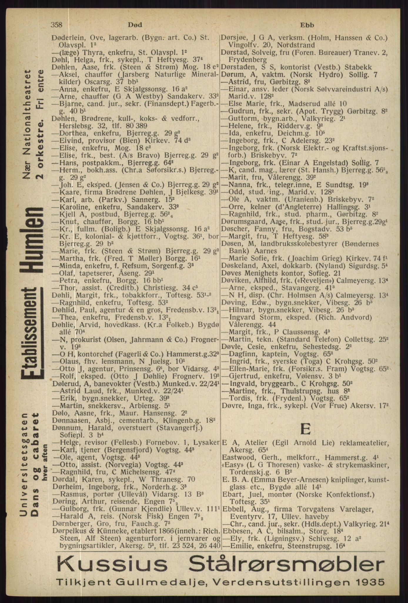 RA, Oslo adressebok (publikasjon)*, 1936, s. 358