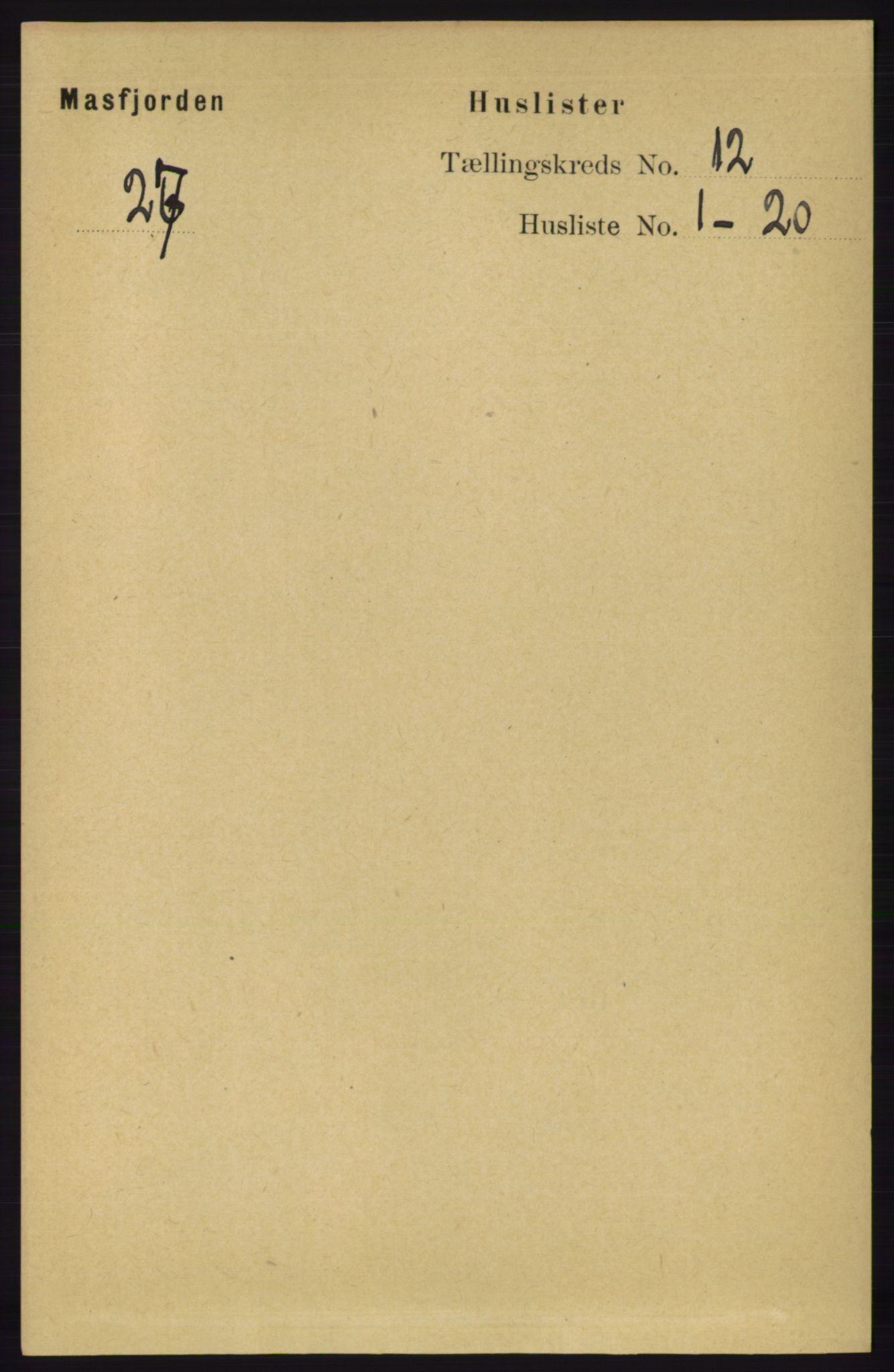 RA, Folketelling 1891 for 1266 Masfjorden herred, 1891, s. 2431