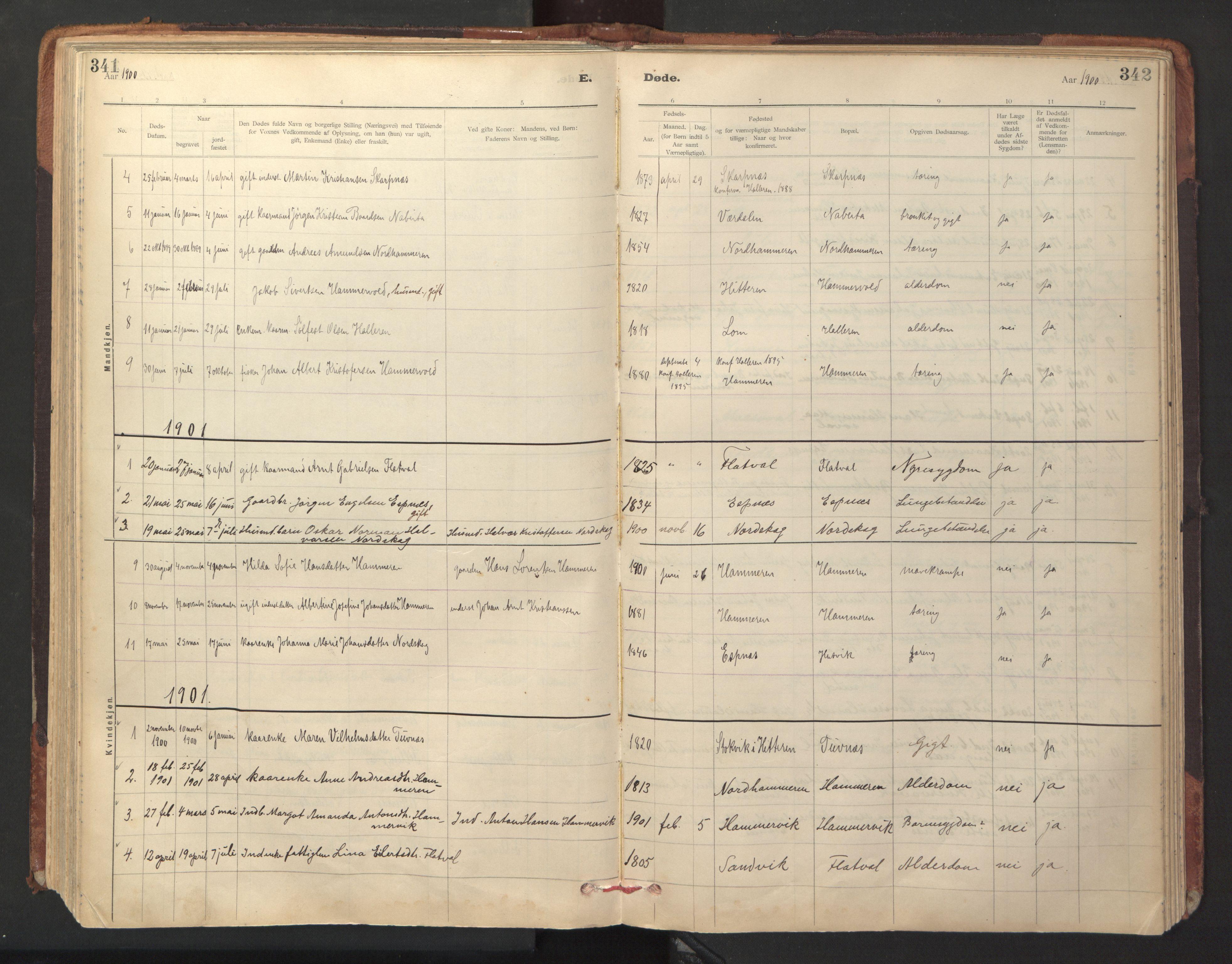 SAT, Ministerialprotokoller, klokkerbøker og fødselsregistre - Sør-Trøndelag, 641/L0596: Ministerialbok nr. 641A02, 1898-1915, s. 341-342