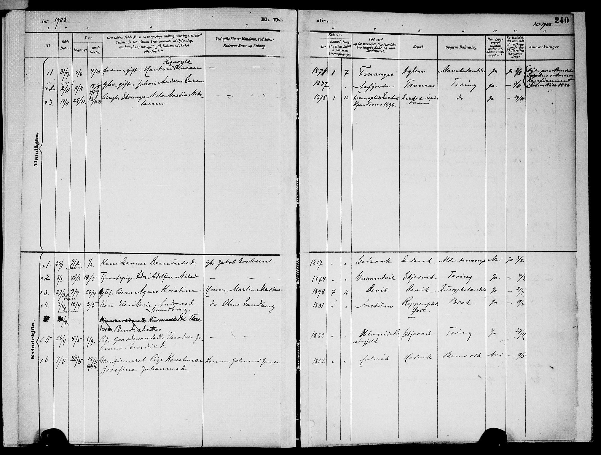 SAT, Ministerialprotokoller, klokkerbøker og fødselsregistre - Nord-Trøndelag, 773/L0617: Ministerialbok nr. 773A08, 1887-1910, s. 240