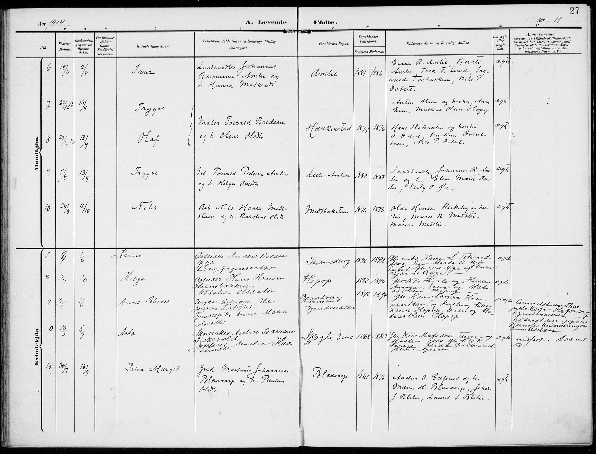 SAH, Kolbu prestekontor, Ministerialbok nr. 1, 1907-1923, s. 27