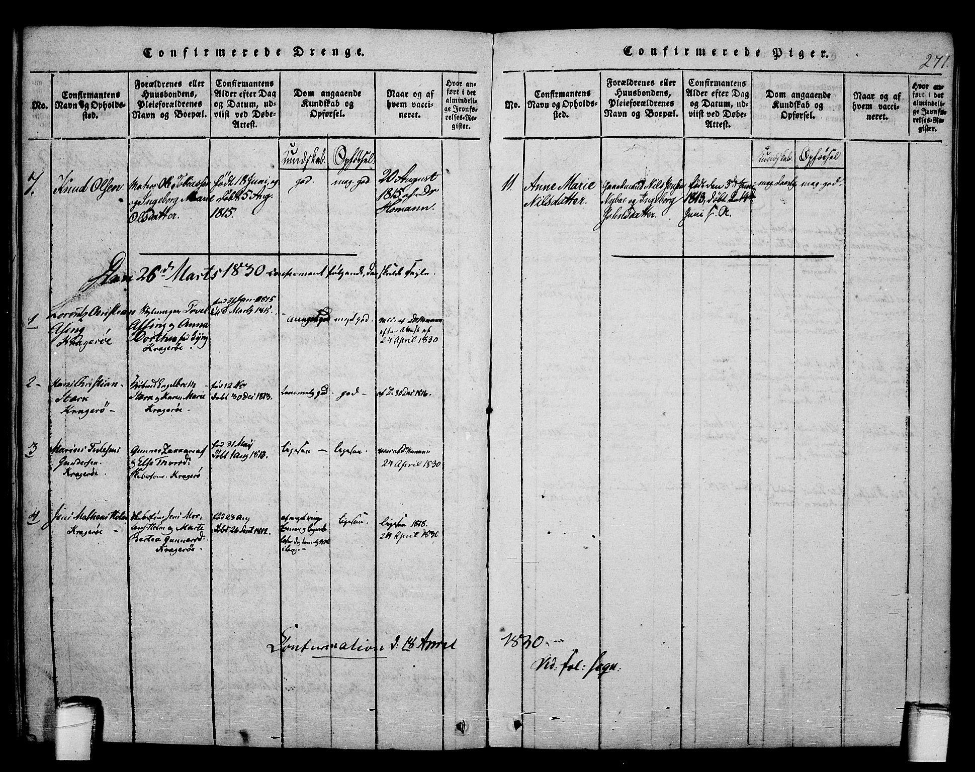 SAKO, Kragerø kirkebøker, F/Fa/L0004: Ministerialbok nr. 4, 1814-1831, s. 271