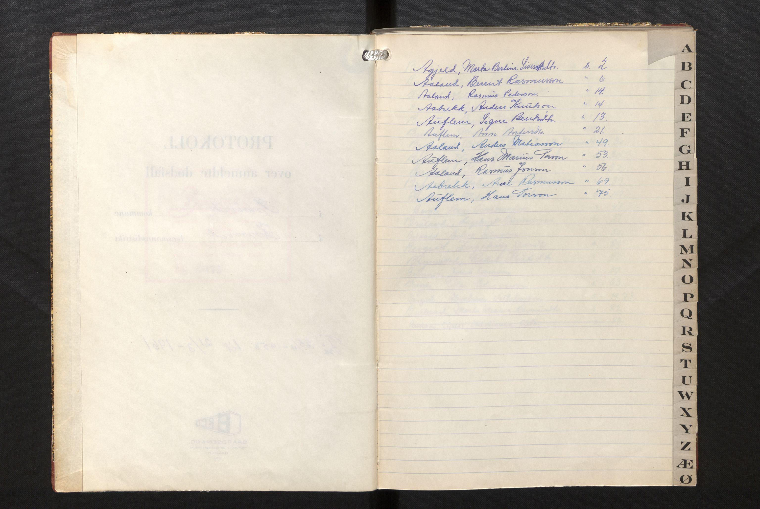 SAB, Lensmannen i Innvik, 0006/L0007: Dødsfallprotokoll, 1953-1961