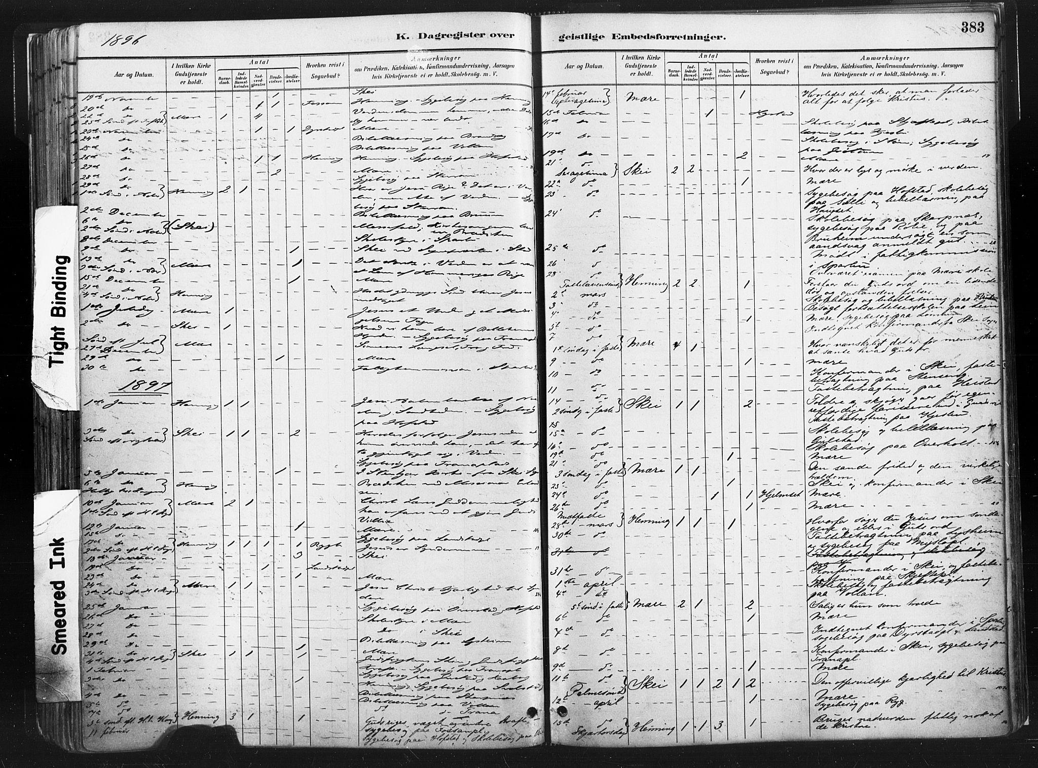 SAT, Ministerialprotokoller, klokkerbøker og fødselsregistre - Nord-Trøndelag, 735/L0351: Ministerialbok nr. 735A10, 1884-1908, s. 383