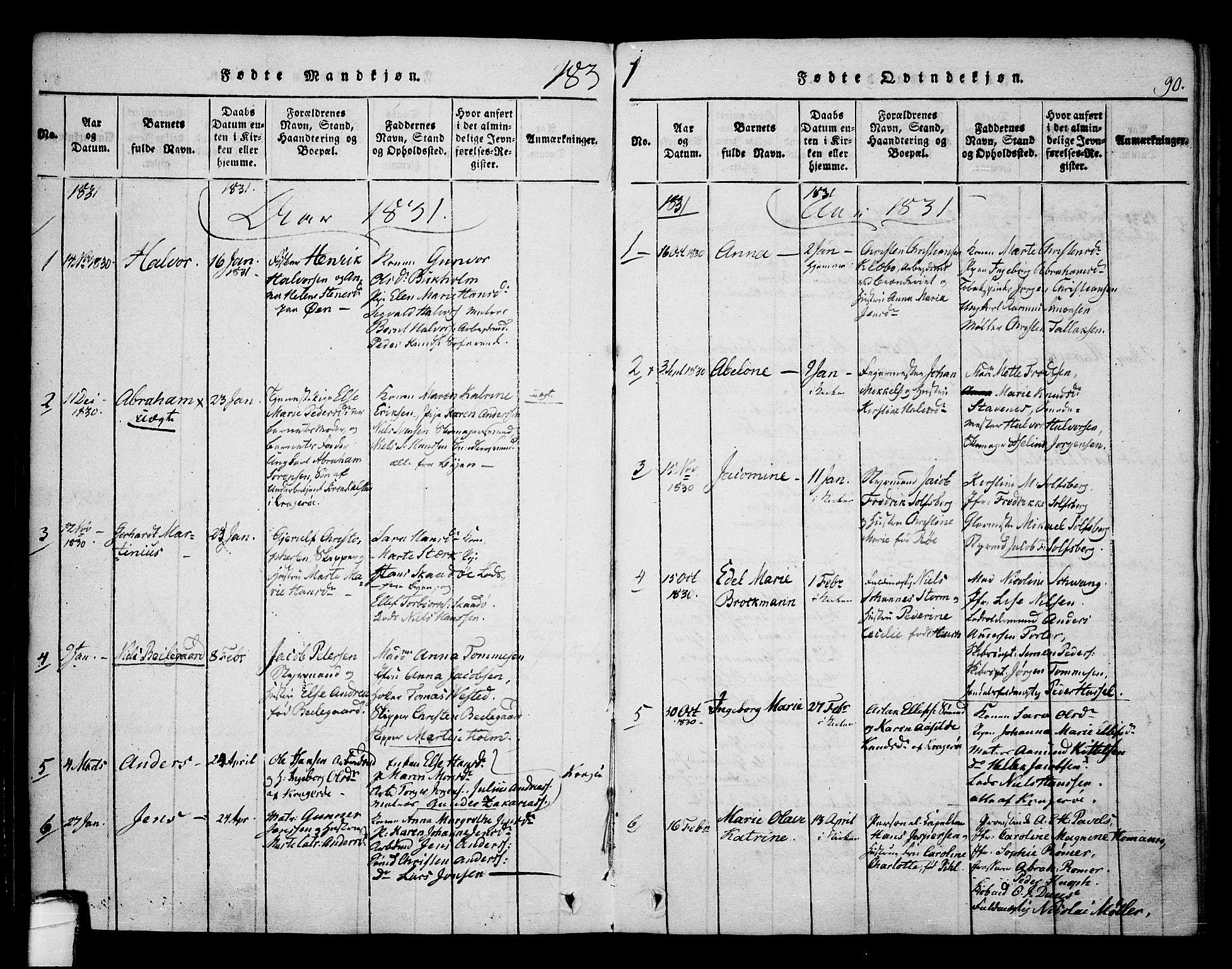 SAKO, Kragerø kirkebøker, F/Fa/L0004: Ministerialbok nr. 4, 1814-1831, s. 90