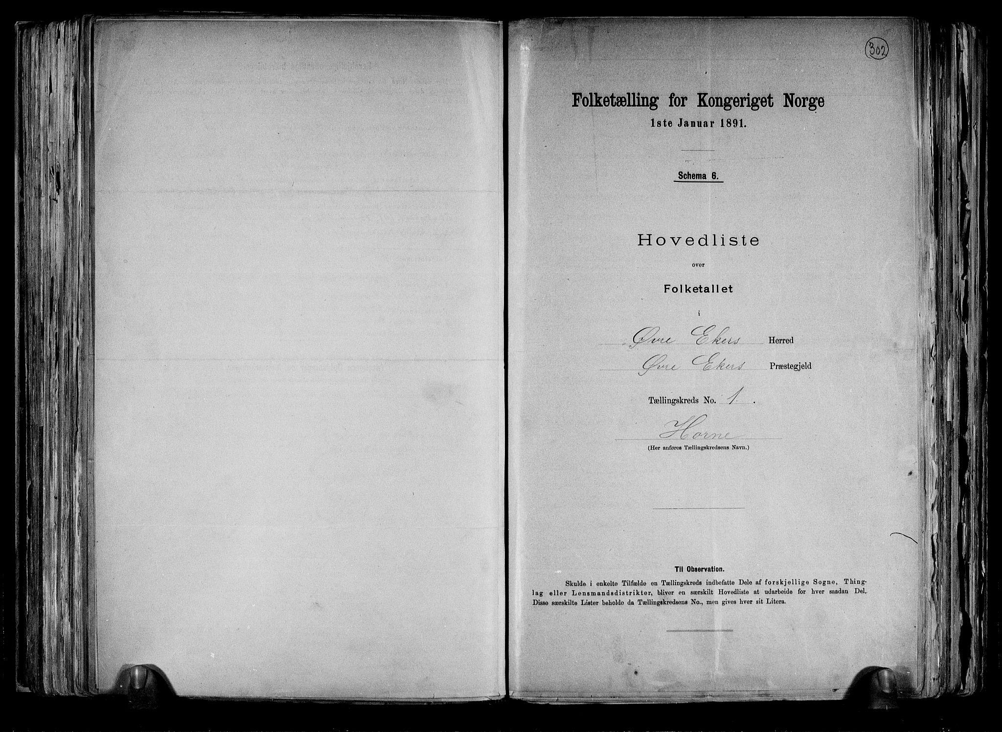 RA, Folketelling 1891 for 0624 Øvre Eiker herred, 1891, s. 4