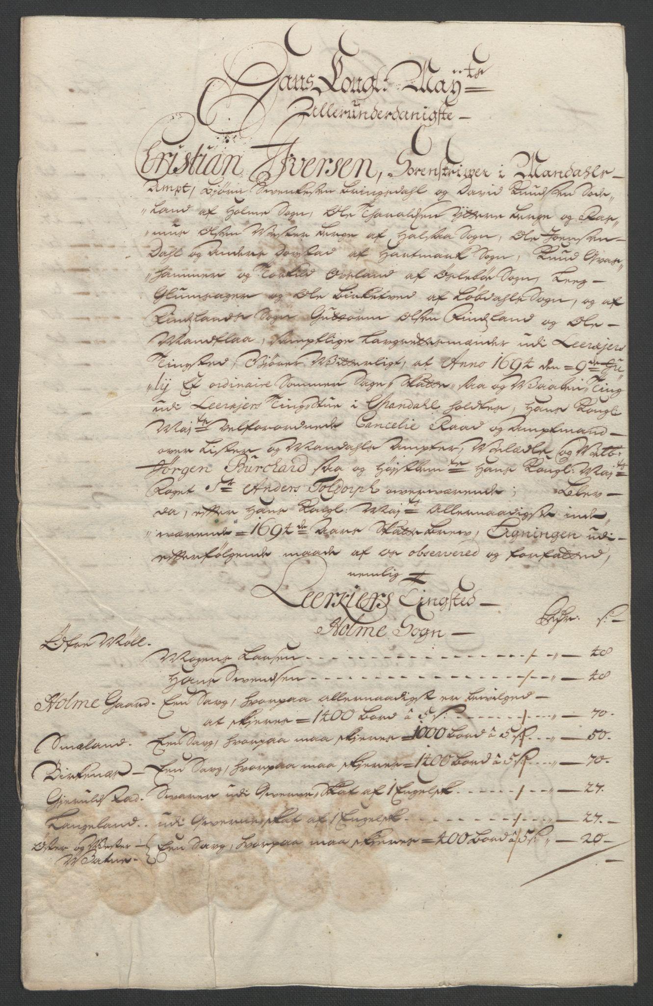 RA, Rentekammeret inntil 1814, Reviderte regnskaper, Fogderegnskap, R43/L2545: Fogderegnskap Lista og Mandal, 1694-1695, s. 97