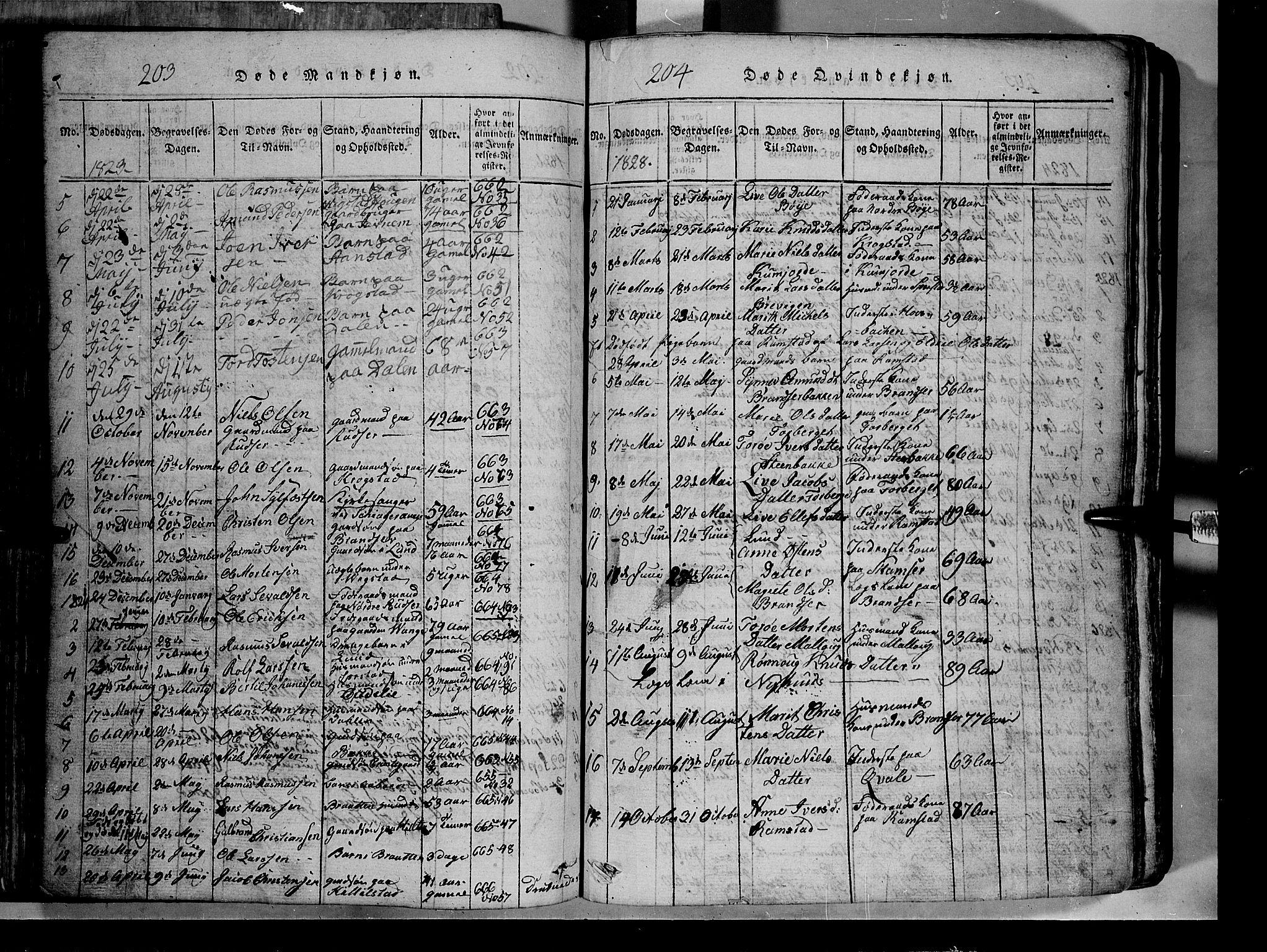 SAH, Lom prestekontor, L/L0003: Klokkerbok nr. 3, 1815-1844, s. 203-204