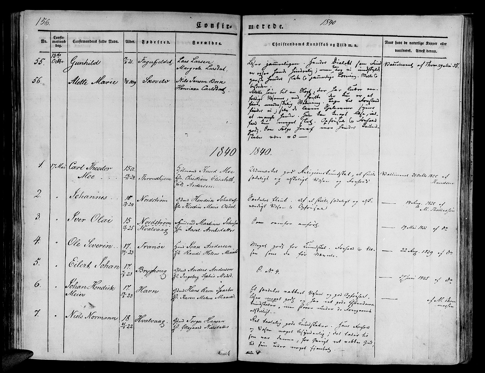 SATØ, Tranøy sokneprestkontor, I/Ia/Iaa/L0005kirke: Ministerialbok nr. 5, 1829-1844, s. 156