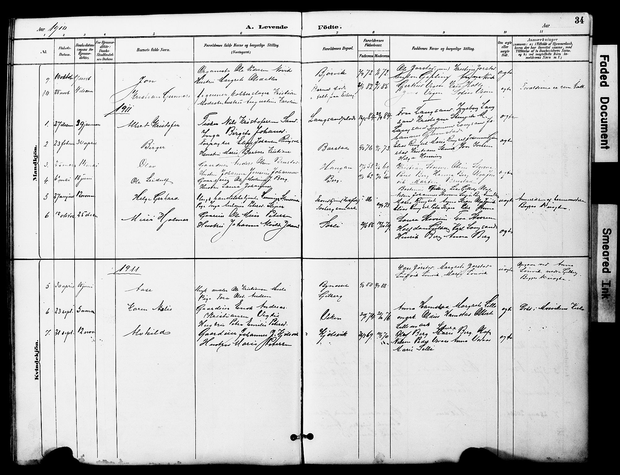 SAT, Ministerialprotokoller, klokkerbøker og fødselsregistre - Nord-Trøndelag, 722/L0226: Klokkerbok nr. 722C02, 1889-1927, s. 34