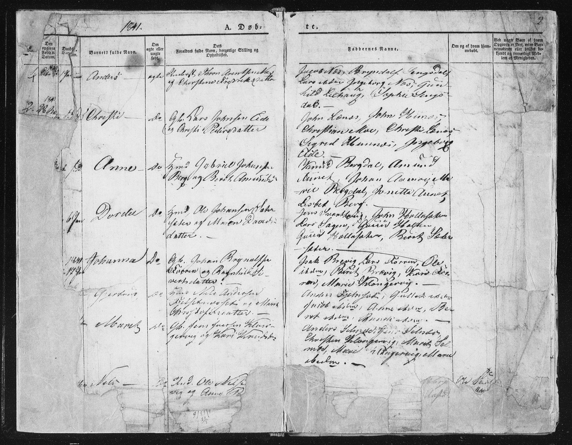 SAT, Ministerialprotokoller, klokkerbøker og fødselsregistre - Sør-Trøndelag, 630/L0493: Ministerialbok nr. 630A06, 1841-1851, s. 2