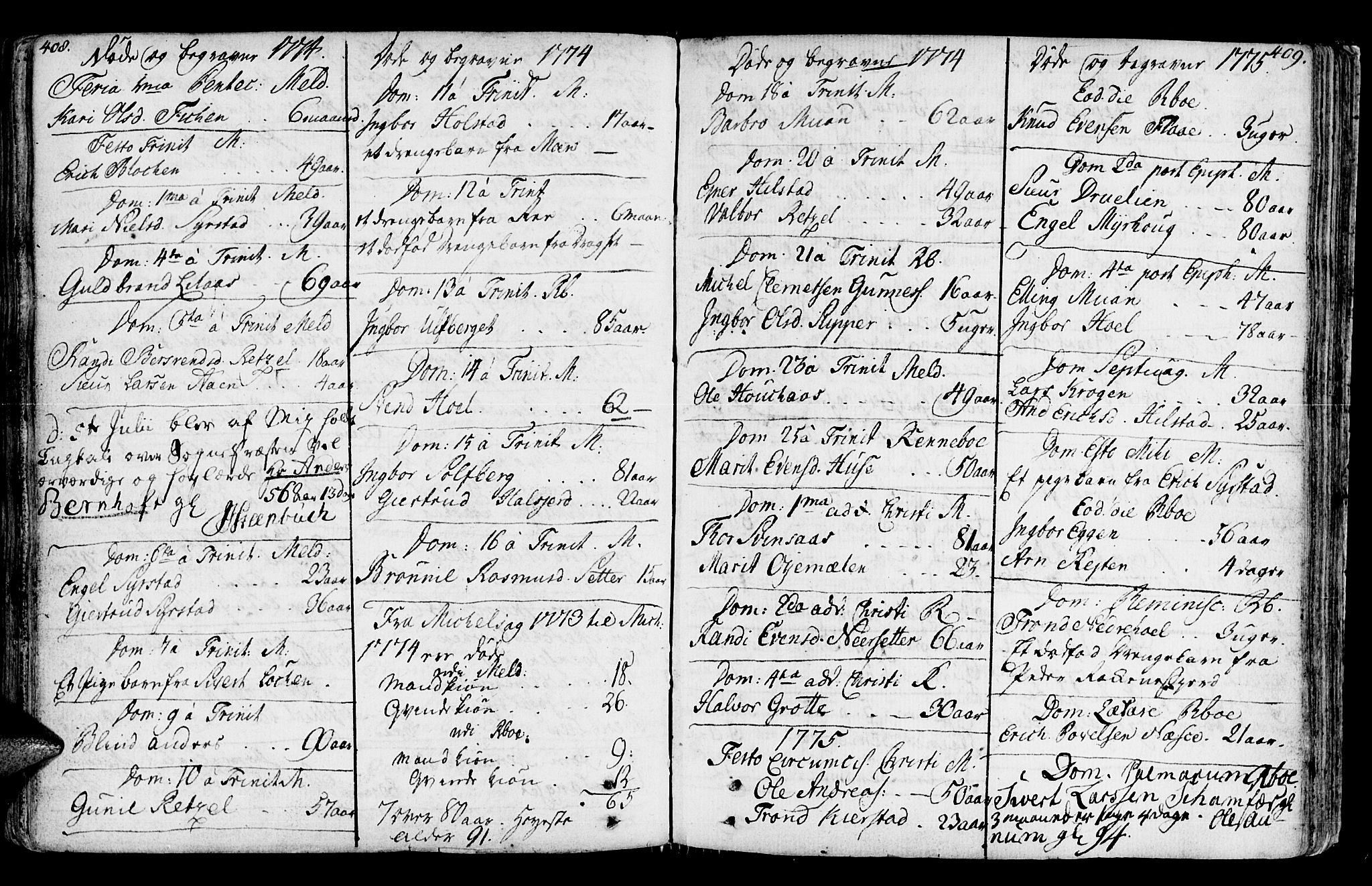 SAT, Ministerialprotokoller, klokkerbøker og fødselsregistre - Sør-Trøndelag, 672/L0851: Ministerialbok nr. 672A04, 1751-1775, s. 408-409