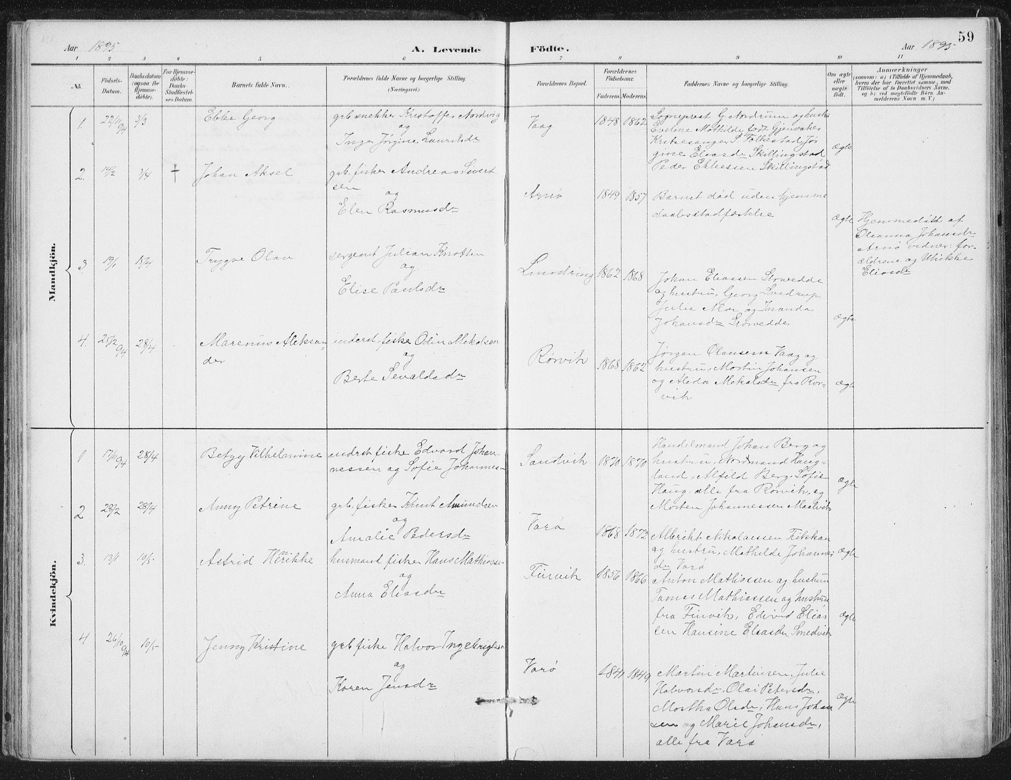SAT, Ministerialprotokoller, klokkerbøker og fødselsregistre - Nord-Trøndelag, 784/L0673: Ministerialbok nr. 784A08, 1888-1899, s. 59