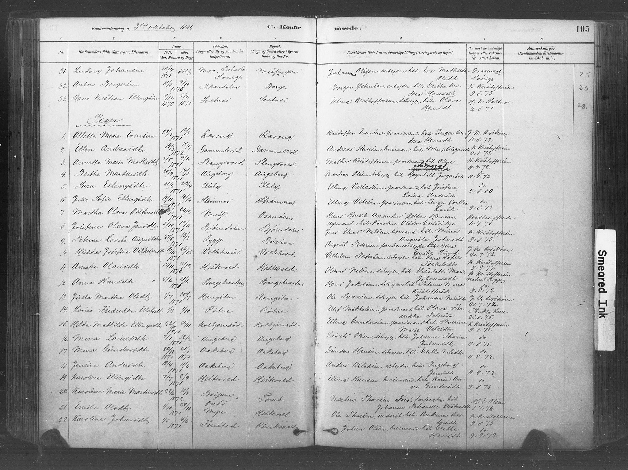 SAO, Råde prestekontor kirkebøker, F/Fa/L0007: Ministerialbok nr. 7, 1878-1902, s. 195