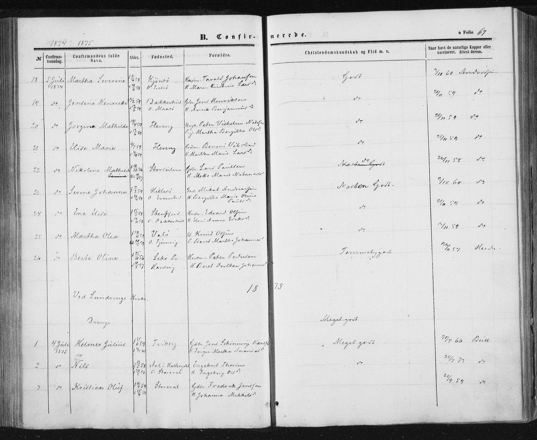 SAT, Ministerialprotokoller, klokkerbøker og fødselsregistre - Nord-Trøndelag, 784/L0670: Ministerialbok nr. 784A05, 1860-1876, s. 67