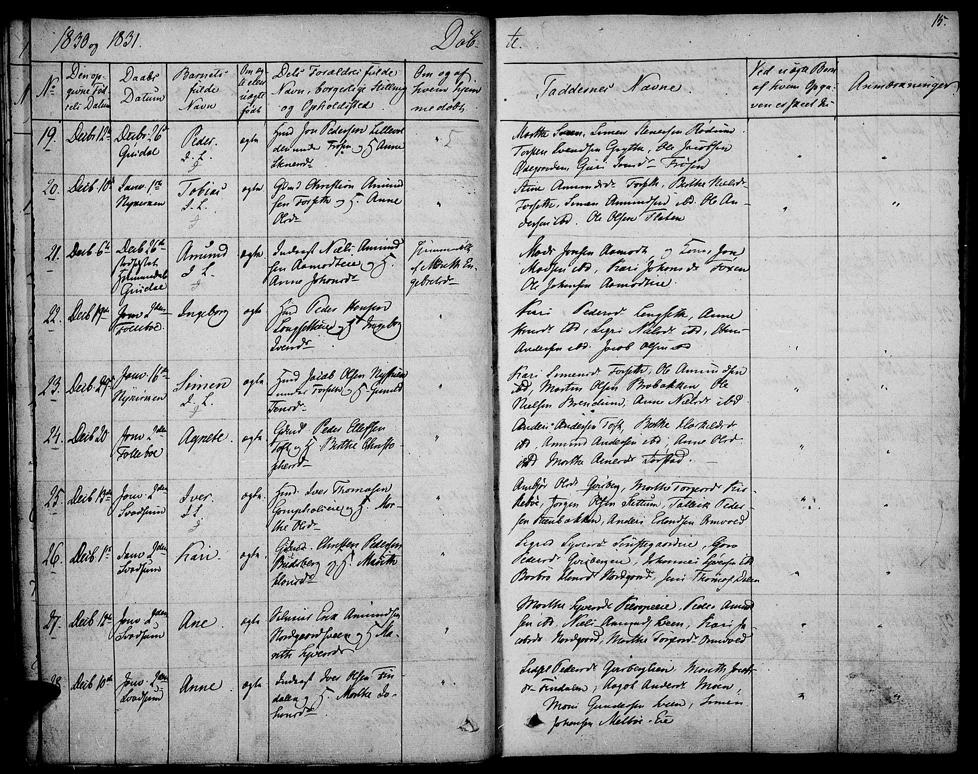 SAH, Gausdal prestekontor, Ministerialbok nr. 6, 1830-1839, s. 15