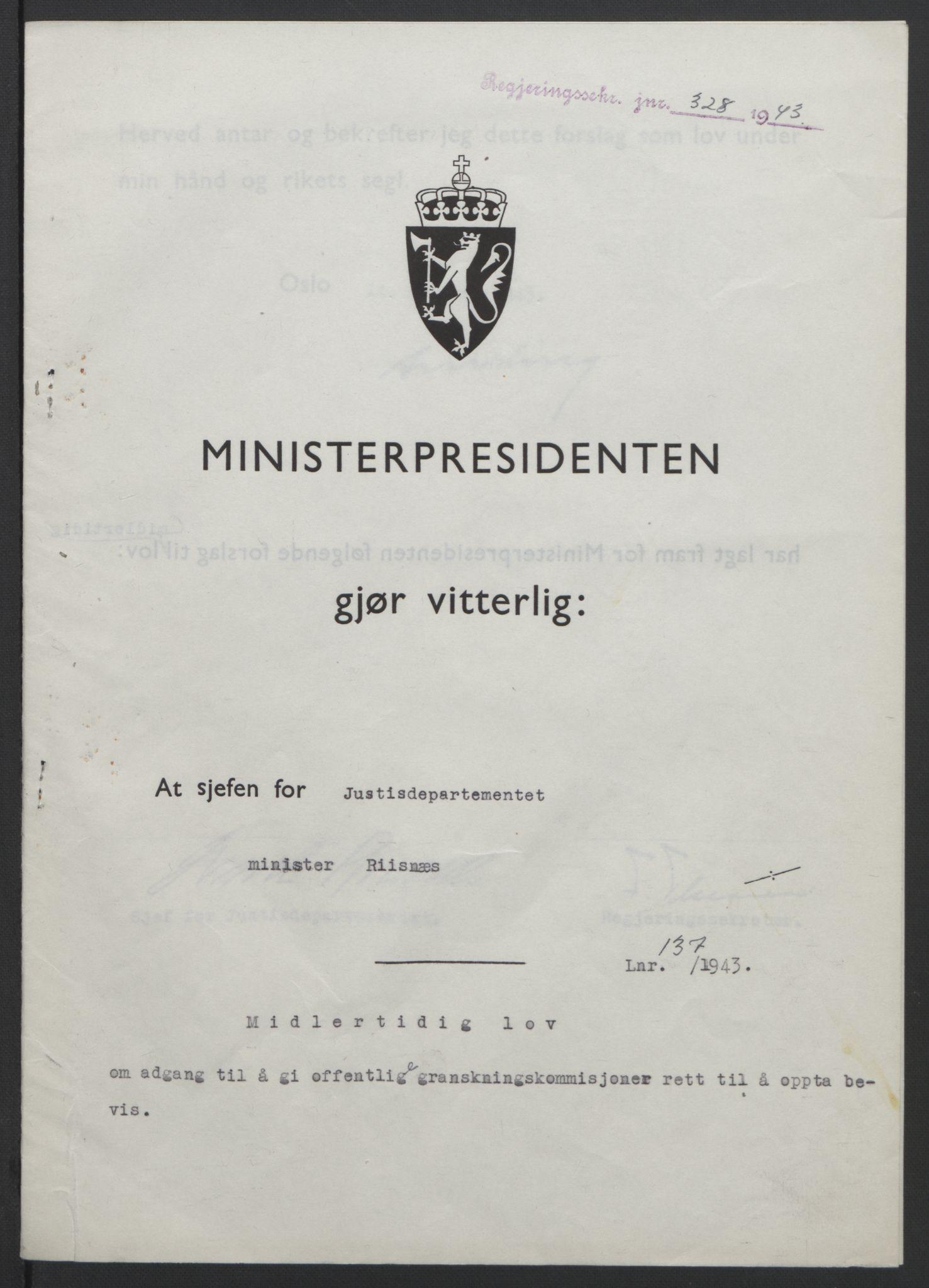 RA, NS-administrasjonen 1940-1945 (Statsrådsekretariatet, de kommisariske statsråder mm), D/Db/L0099: Lover, 1943, s. 638