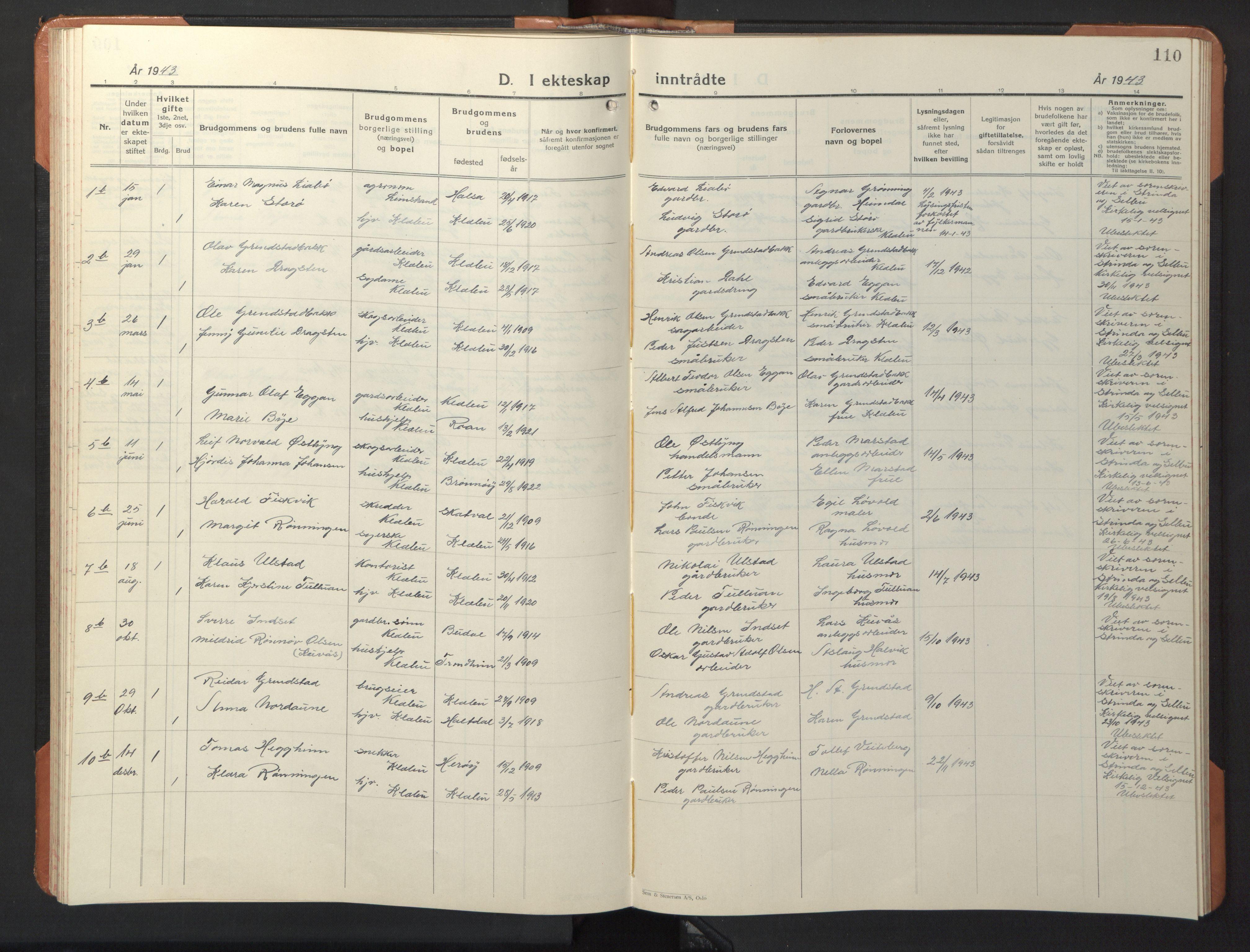 SAT, Ministerialprotokoller, klokkerbøker og fødselsregistre - Sør-Trøndelag, 618/L0454: Klokkerbok nr. 618C05, 1926-1946, s. 110