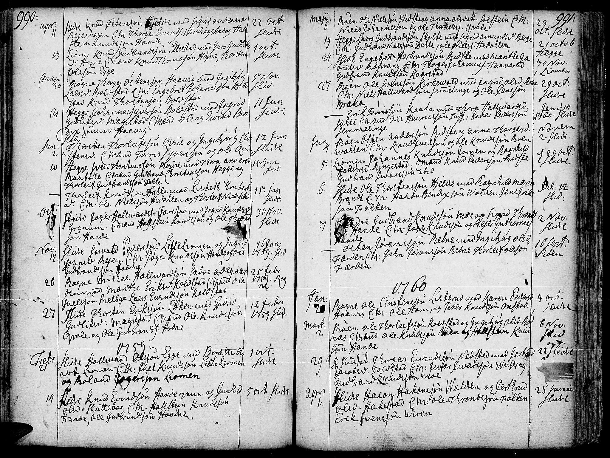 SAH, Slidre prestekontor, Ministerialbok nr. 1, 1724-1814, s. 990-991