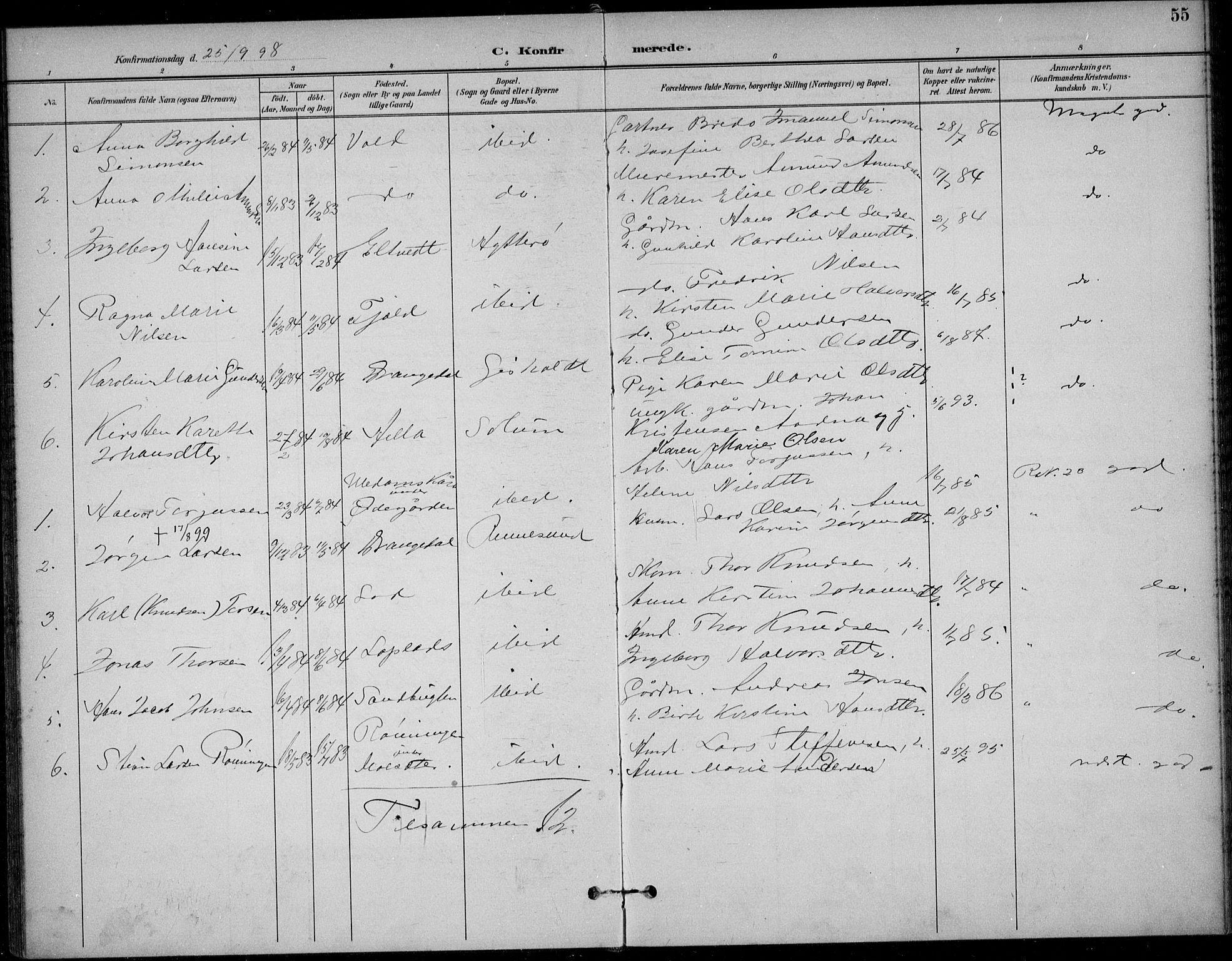 SAKO, Solum kirkebøker, F/Fc/L0002: Ministerialbok nr. III 2, 1892-1906, s. 55
