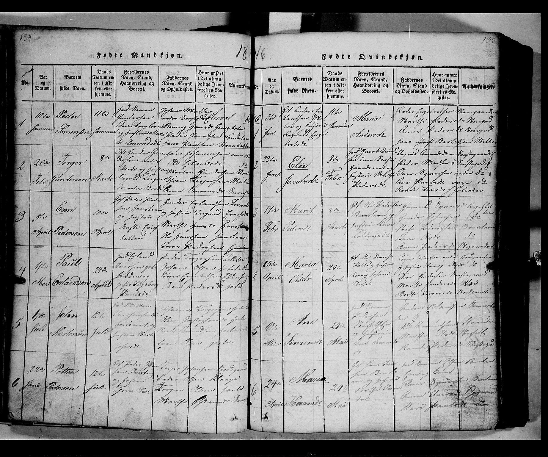 SAH, Gausdal prestekontor, Klokkerbok nr. 2, 1818-1874, s. 134-135