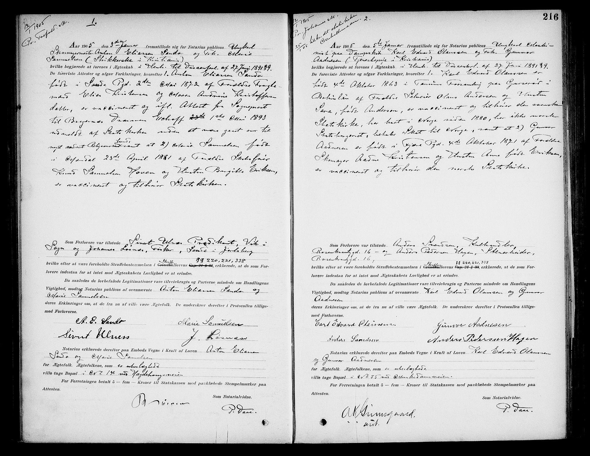 SAO, Oslo byfogd avd. I, L/Lb/Lbb/L0006: Notarialprotokoll, rekke II: Vigsler, 1902-1907, s. 215b-216a