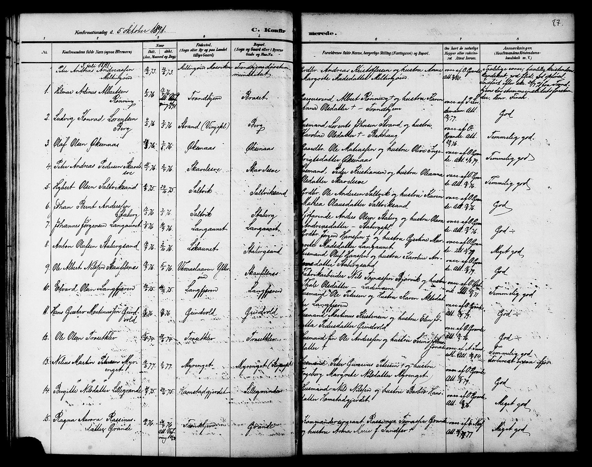 SAT, Ministerialprotokoller, klokkerbøker og fødselsregistre - Nord-Trøndelag, 733/L0327: Klokkerbok nr. 733C02, 1888-1918, s. 87