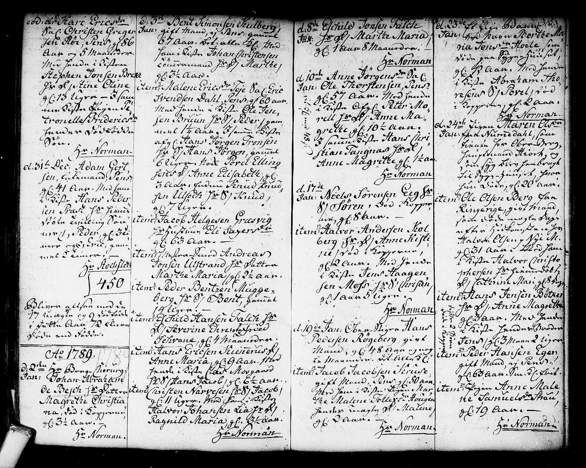 SAKO, Kongsberg kirkebøker, F/Fa/L0006: Ministerialbok nr. I 6, 1783-1797, s. 315