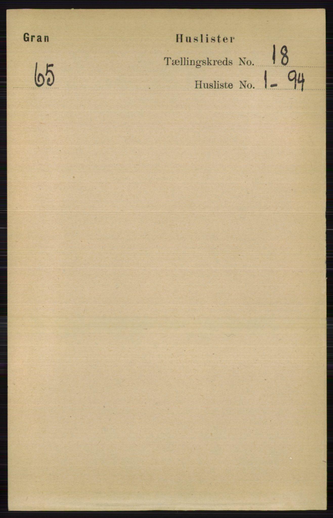 RA, Folketelling 1891 for 0534 Gran herred, 1891, s. 9436