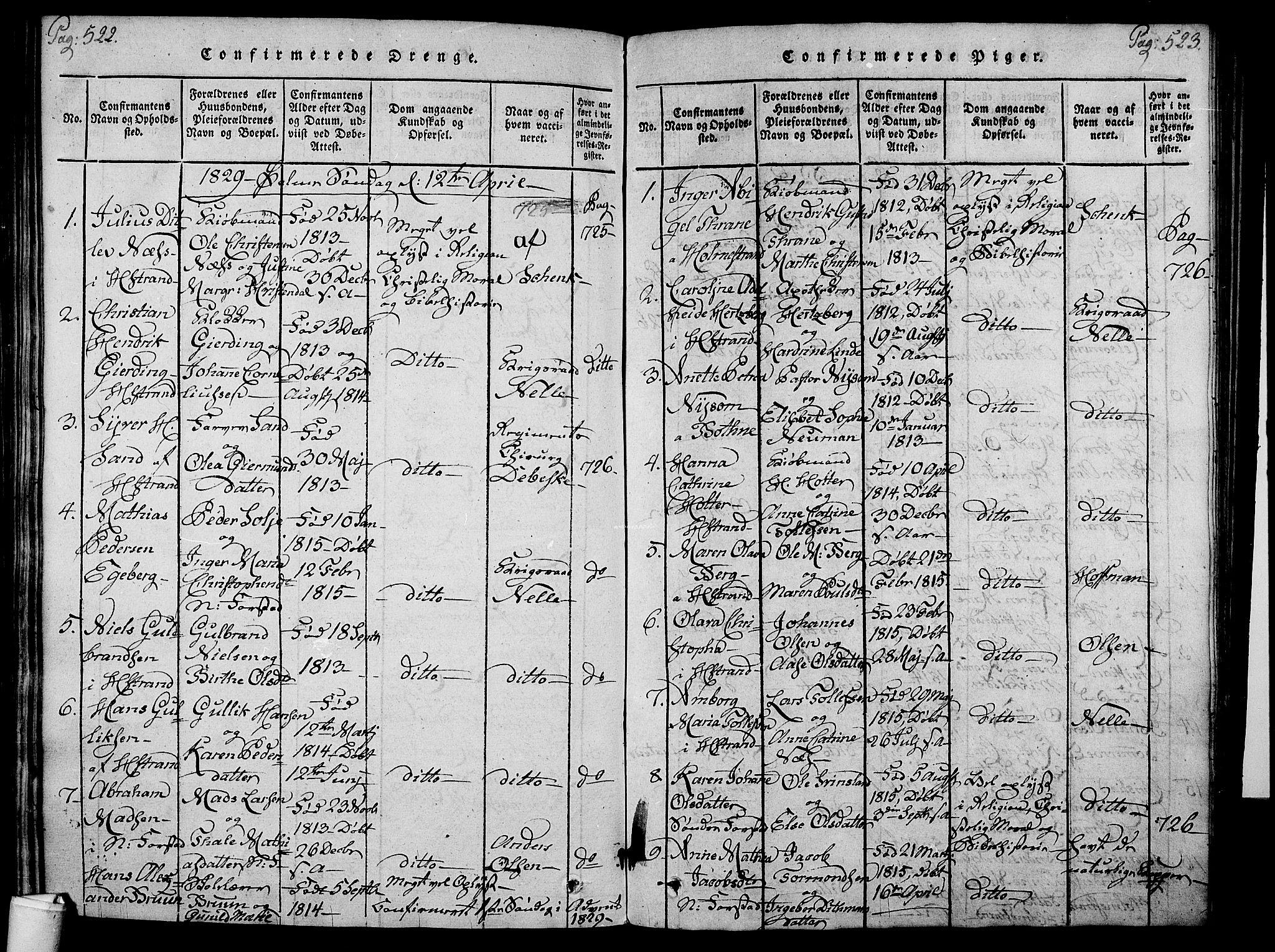 SAKO, Holmestrand kirkebøker, F/Fa/L0001: Ministerialbok nr. 1, 1814-1840, s. 522-523