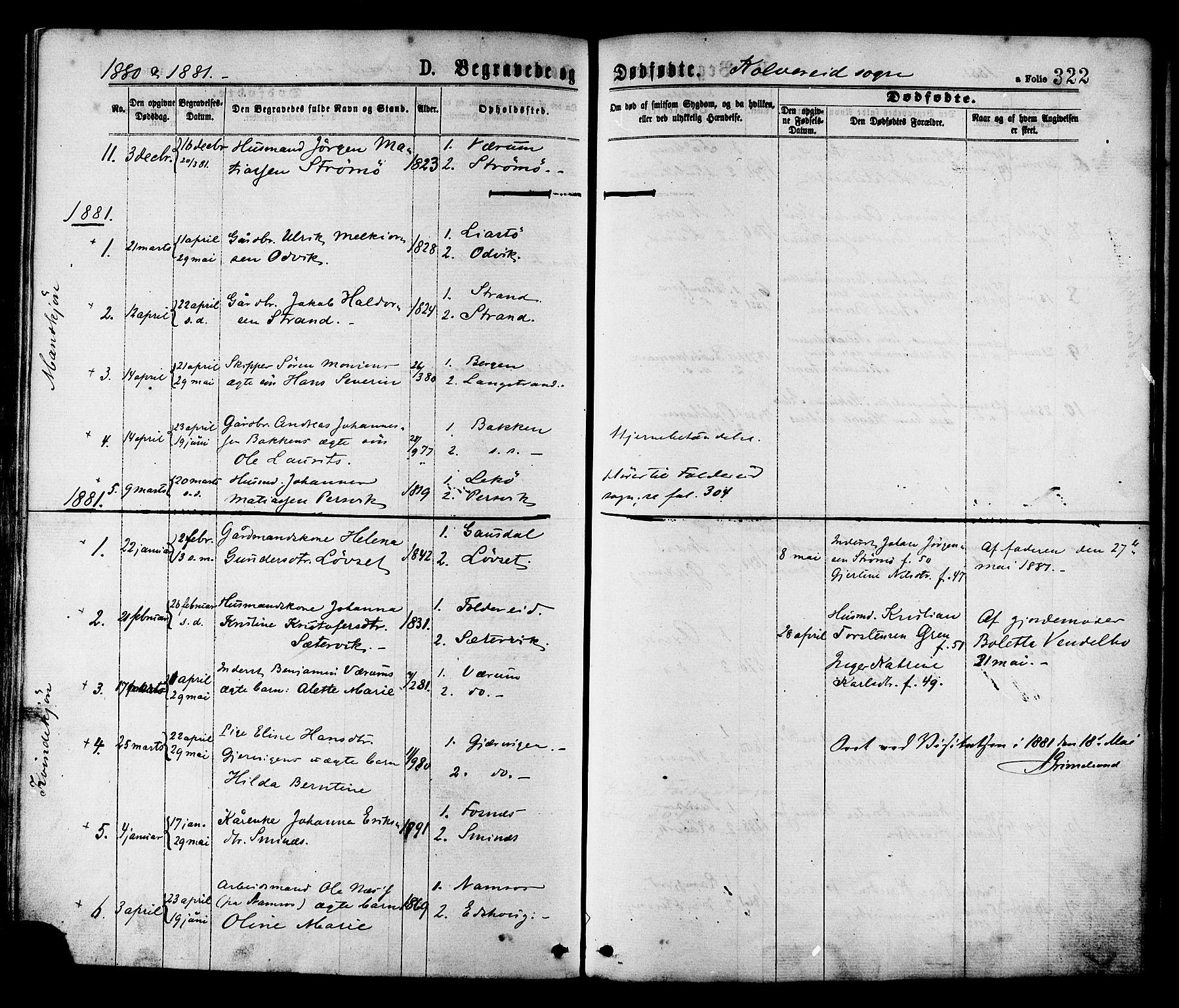 SAT, Ministerialprotokoller, klokkerbøker og fødselsregistre - Nord-Trøndelag, 780/L0642: Ministerialbok nr. 780A07 /1, 1874-1885, s. 322
