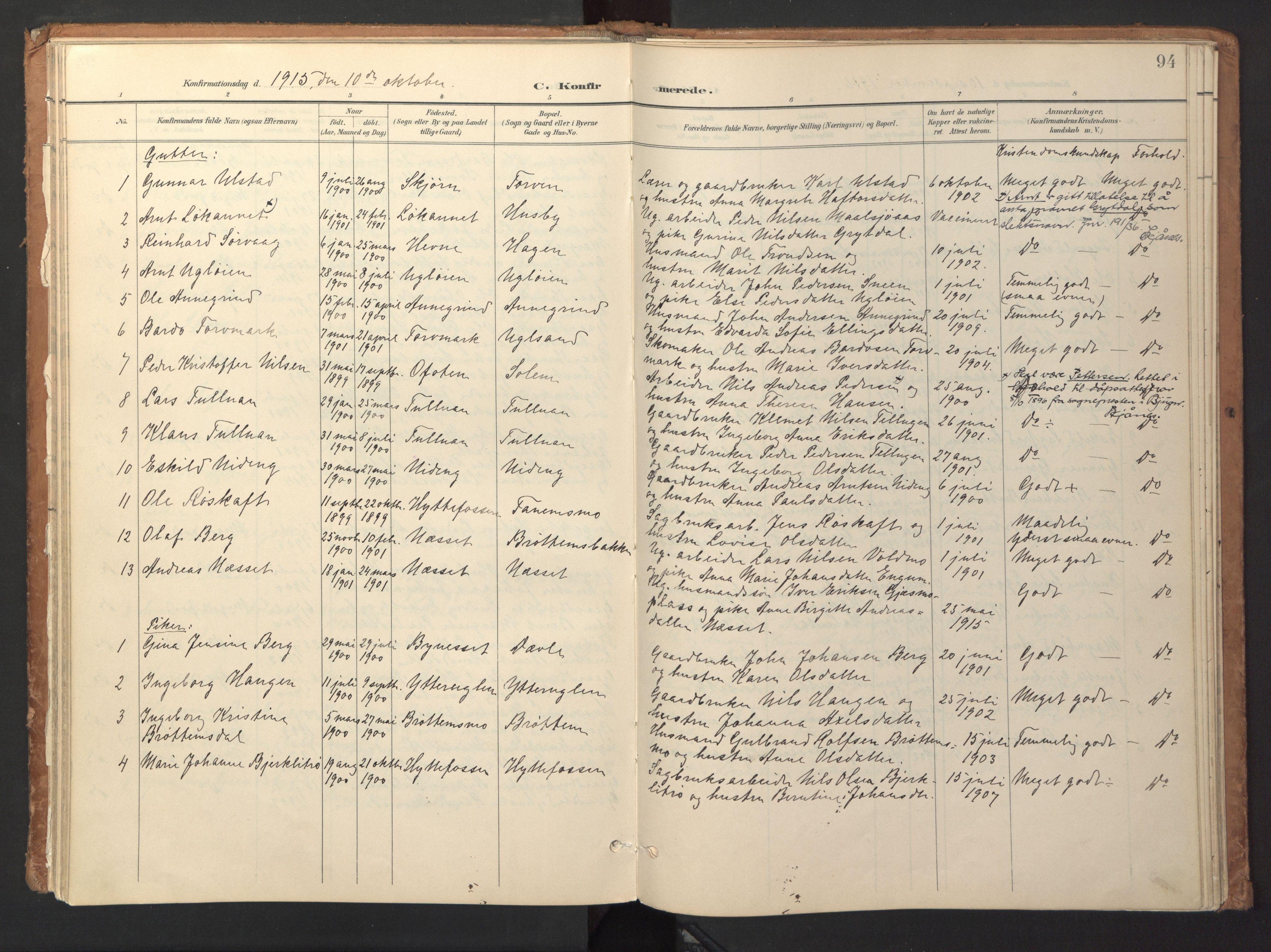 SAT, Ministerialprotokoller, klokkerbøker og fødselsregistre - Sør-Trøndelag, 618/L0448: Ministerialbok nr. 618A11, 1898-1916, s. 94