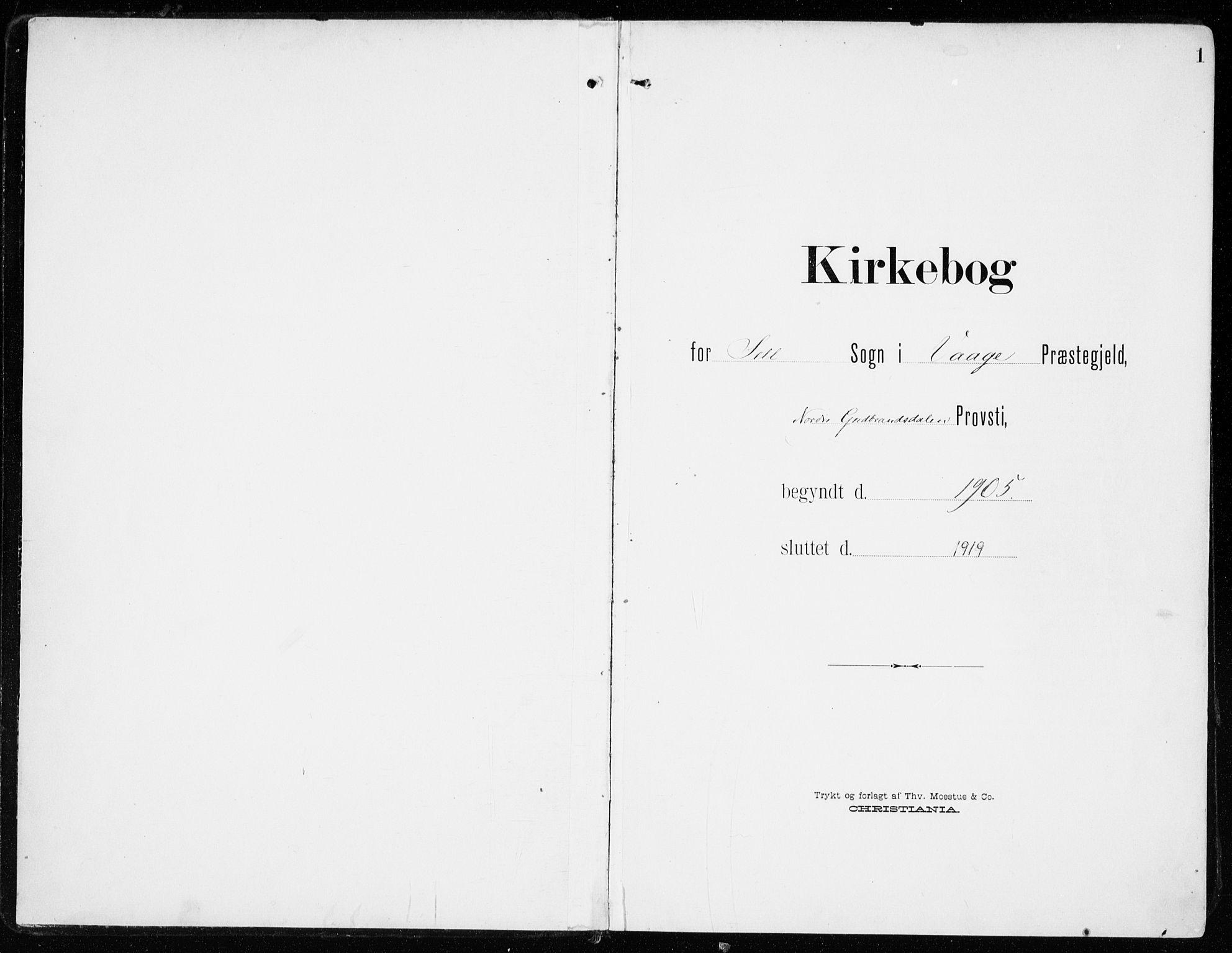 SAH, Sel prestekontor, Ministerialbok nr. 2, 1905-1919, s. 1