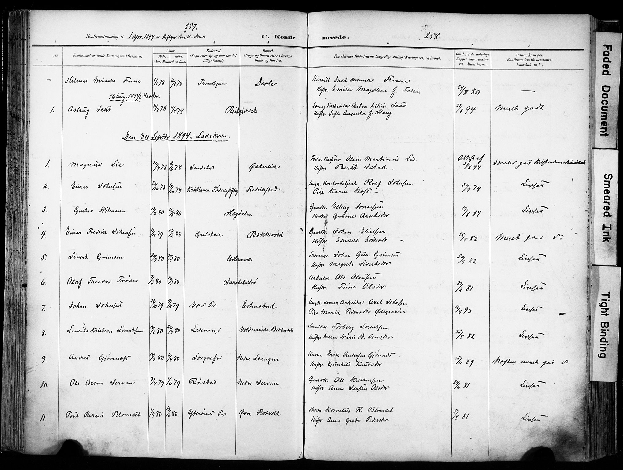 SAT, Ministerialprotokoller, klokkerbøker og fødselsregistre - Sør-Trøndelag, 606/L0301: Ministerialbok nr. 606A16, 1894-1907, s. 257-258