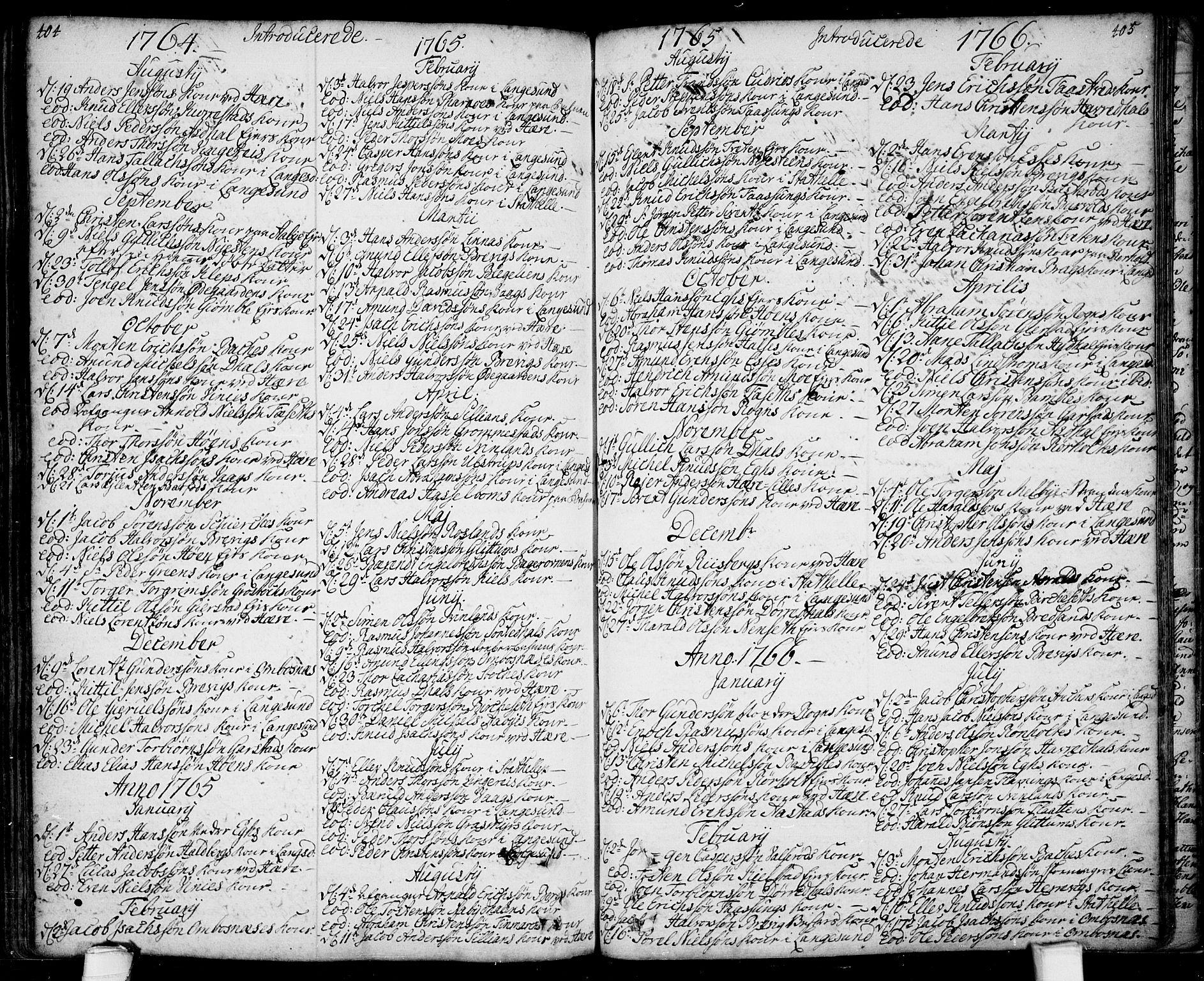 SAKO, Bamble kirkebøker, F/Fa/L0001: Ministerialbok nr. I 1, 1702-1774, s. 404-405