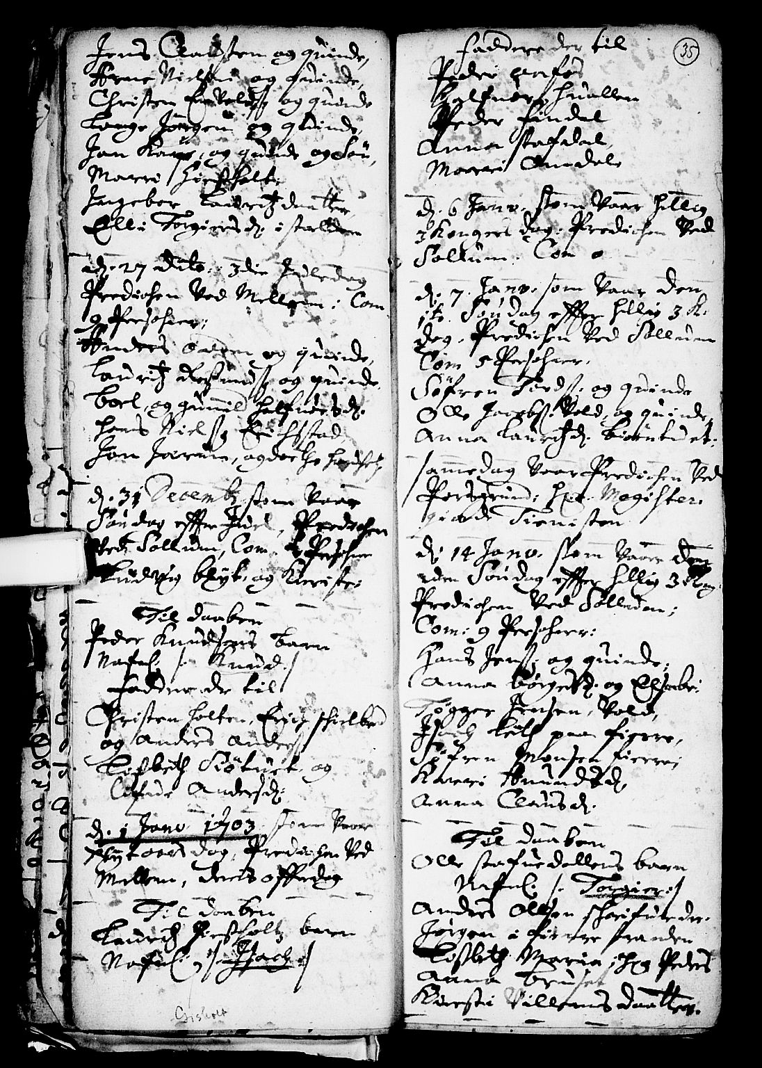 SAKO, Solum kirkebøker, F/Fa/L0001: Ministerialbok nr. I 1, 1701-1716, s. 35