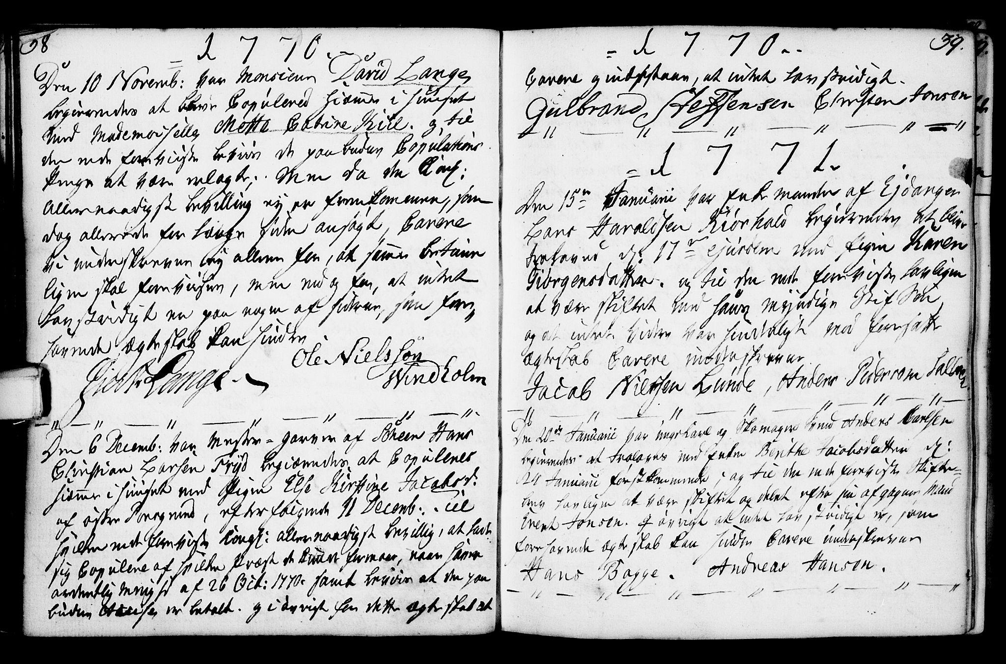 SAKO, Porsgrunn kirkebøker , F/Fa/L0003: Ministerialbok nr. 3, 1764-1814, s. 38-39