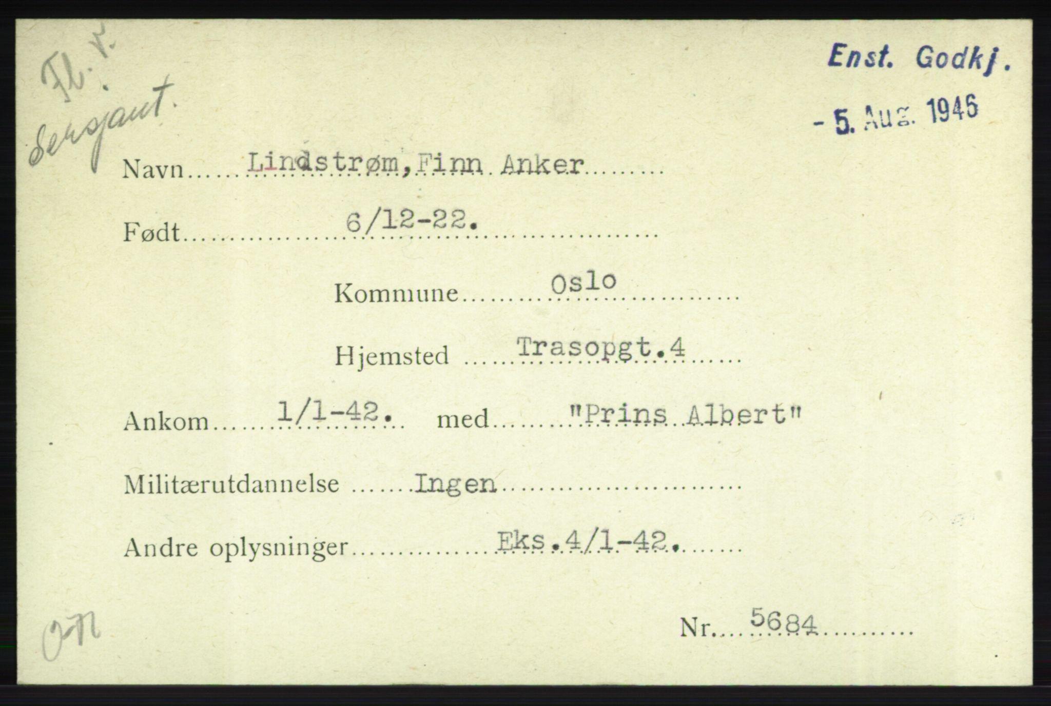 NHM, Forsvarets Overkommando. 2. kontor. Arkiv 8.1. Mottakersentralen FDE og FO.II, P/Pa/L0013: Kortsamling, 1940-1945, s. 1