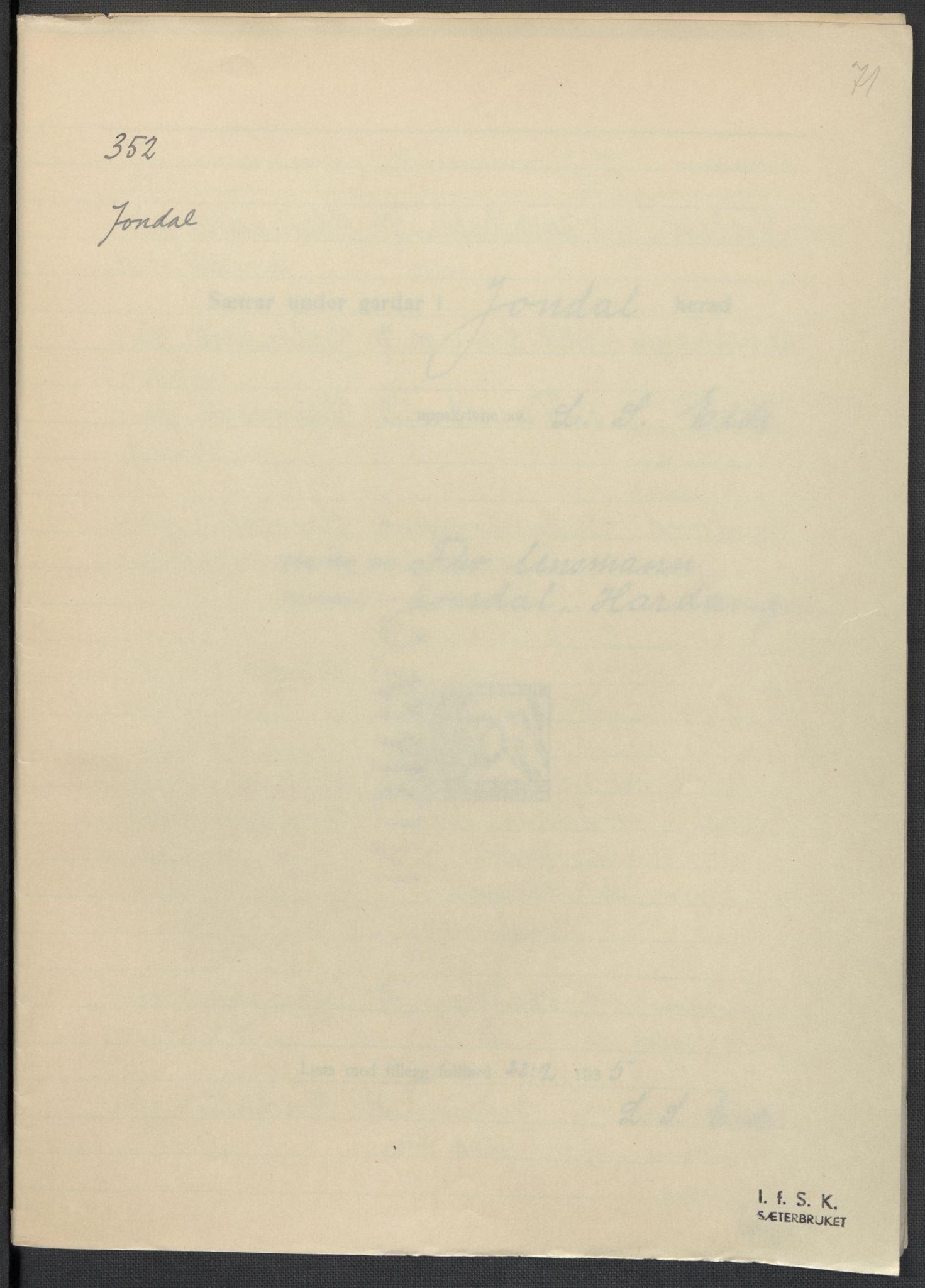 RA, Instituttet for sammenlignende kulturforskning, F/Fc/L0010: Eske B10:, 1932-1935, s. 71
