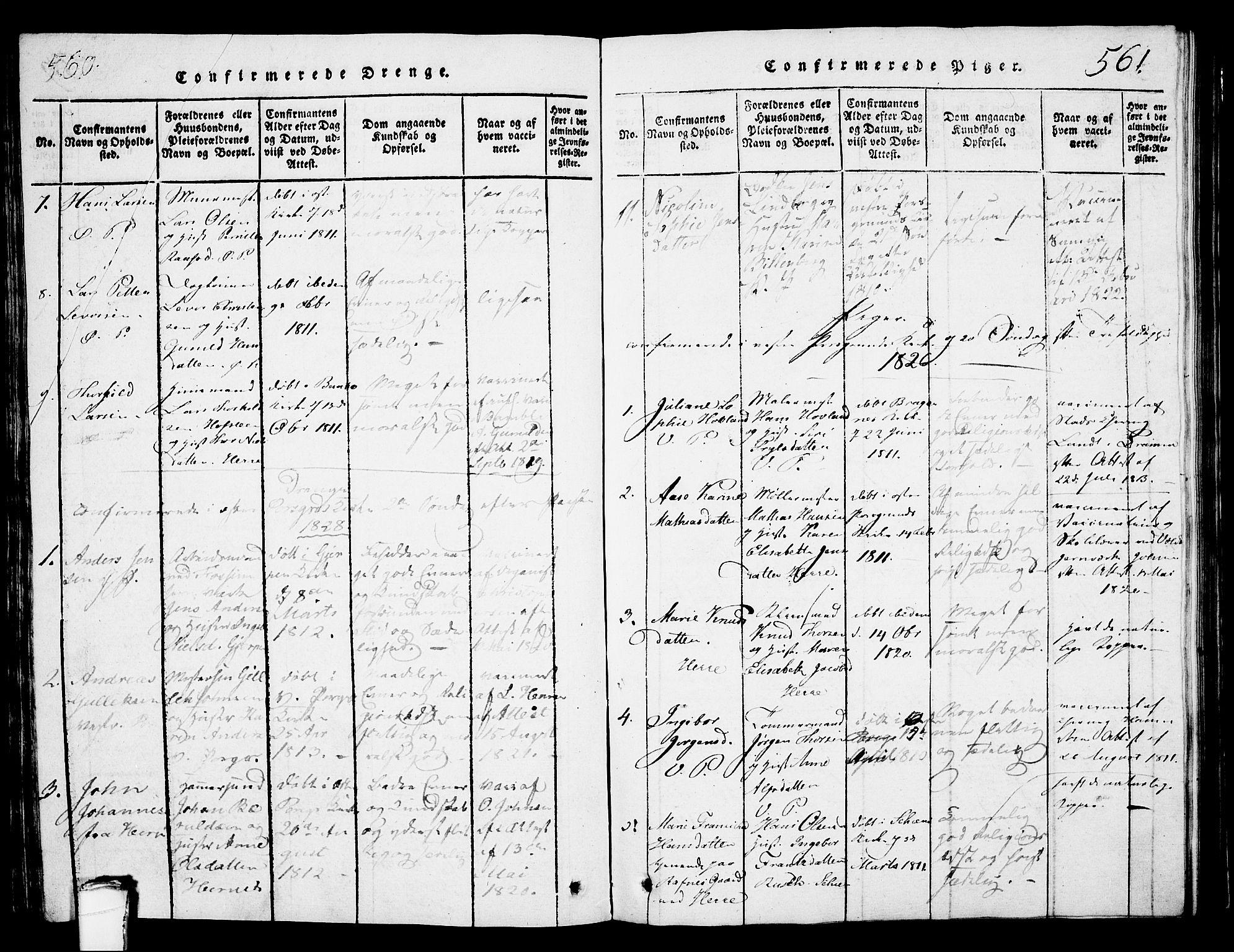 SAKO, Porsgrunn kirkebøker , G/Gb/L0001: Klokkerbok nr. II 1, 1817-1828, s. 560-561