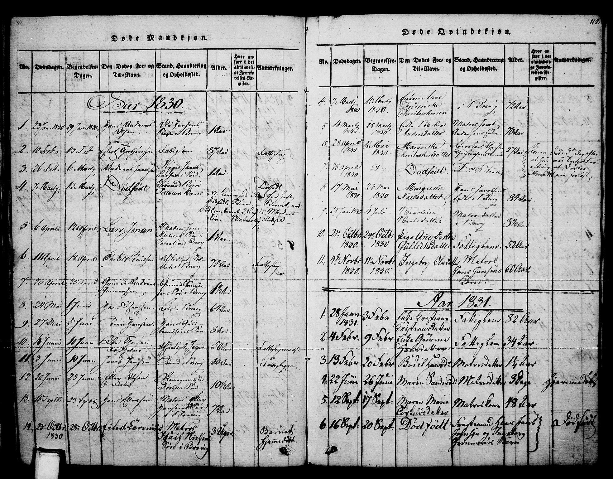 SAKO, Brevik kirkebøker, F/Fa/L0004: Ministerialbok nr. 4, 1814-1846, s. 112