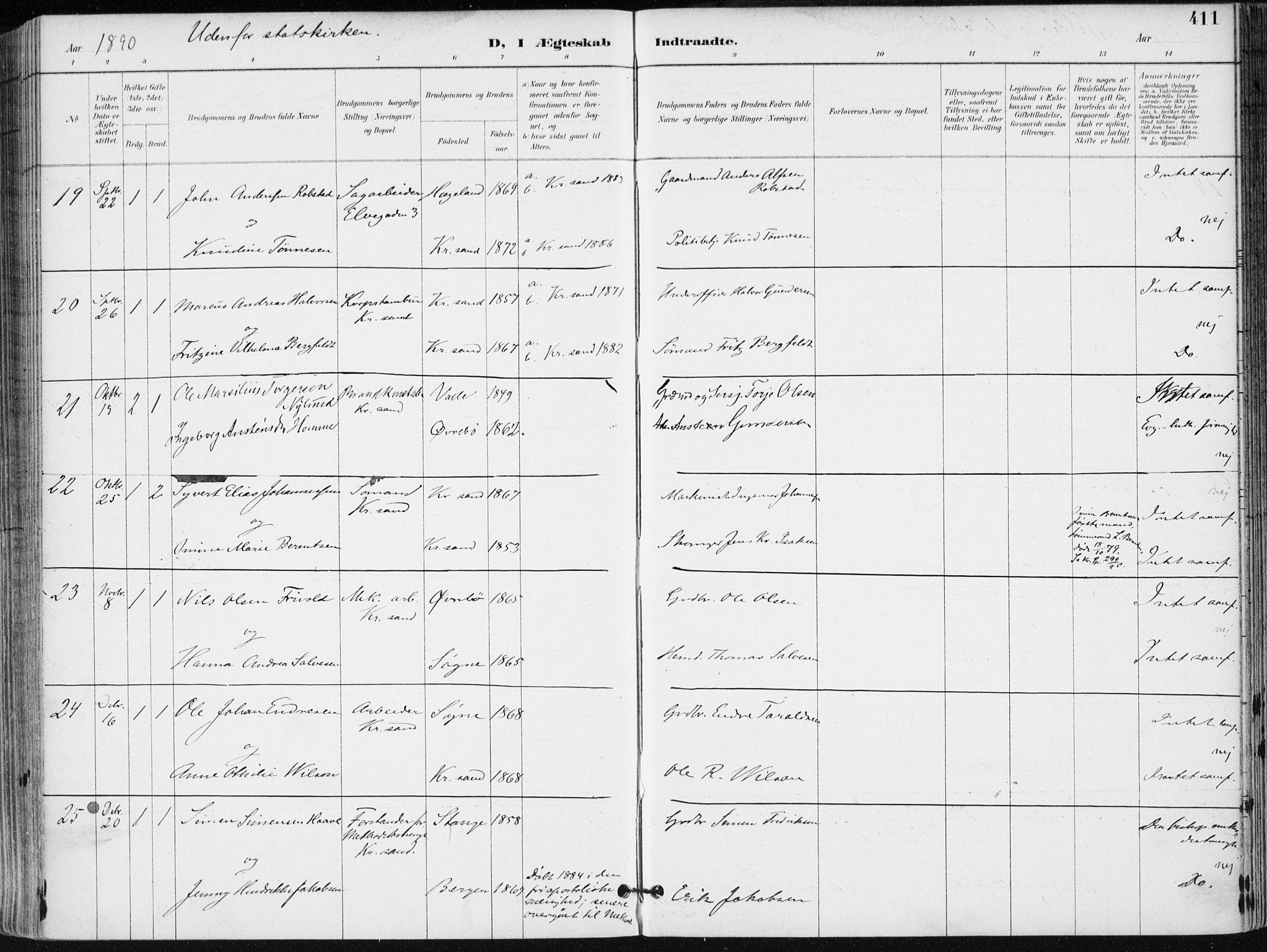 SAK, Kristiansand domprosti, F/Fa/L0019: Ministerialbok nr. A 18, 1890-1897, s. 411